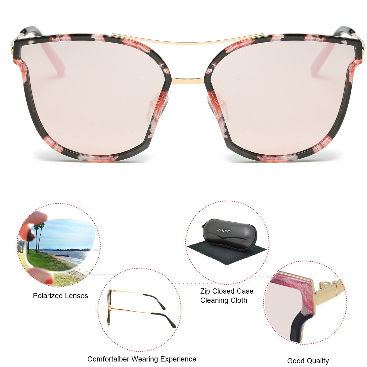 150c2693d42 Shop Dasein Trendy Polarized Mirrored Lens Sunglasses w  Zip Closed Case -  On Sale - Ships To Canada - Overstock - 14664075