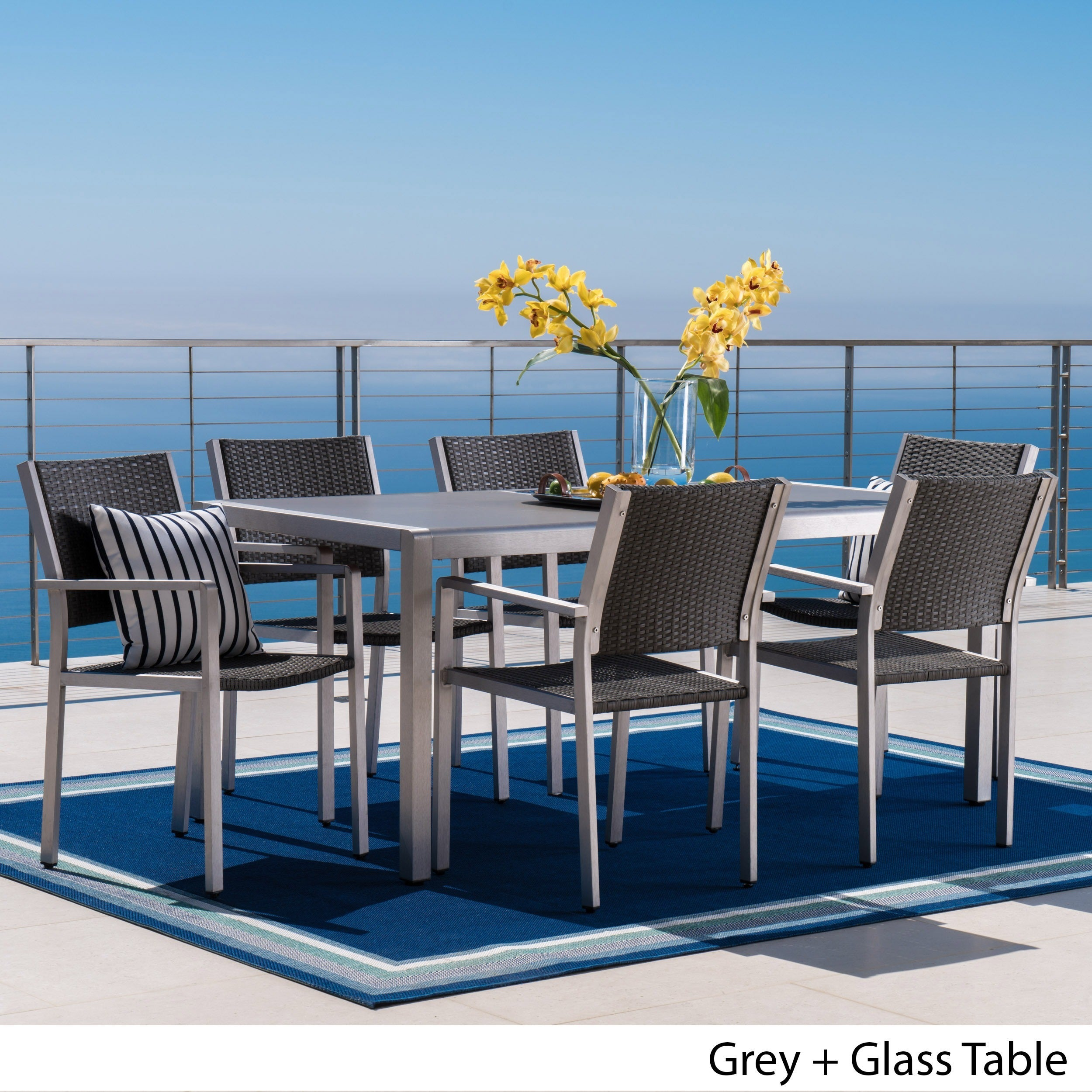 Shop Cape Coral Outdoor Rectangle Aluminum 7-piece Dining Set with ...