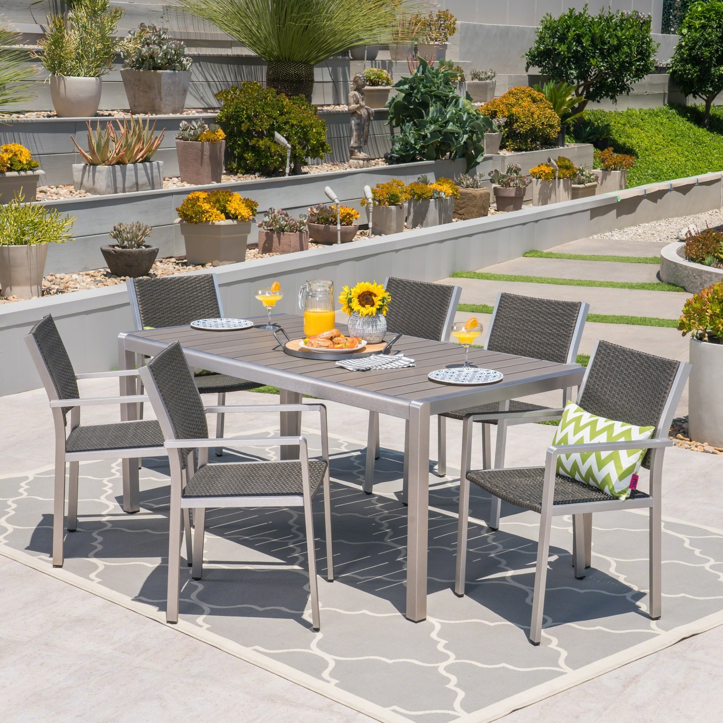 Shop Cape Coral Outdoor Rectangle Aluminum 7 Piece Dining Set With Glass  Top By Christopher Knight Home   On Sale   Free Shipping Today    Overstock.com   ...