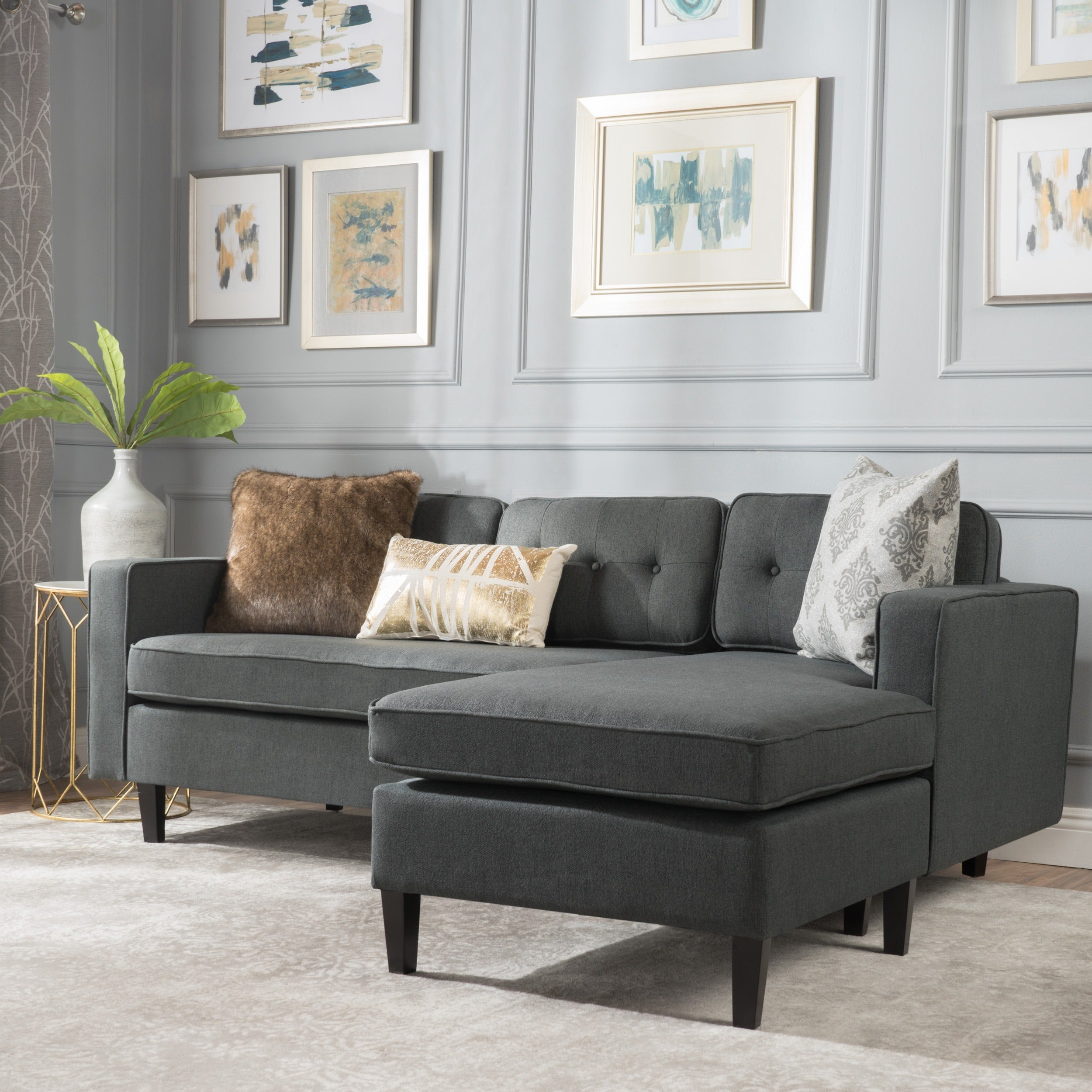 Wilder Mid-century Modern 2-piece Fabric Chaise Sectional Sofa by  Christopher Knight Home