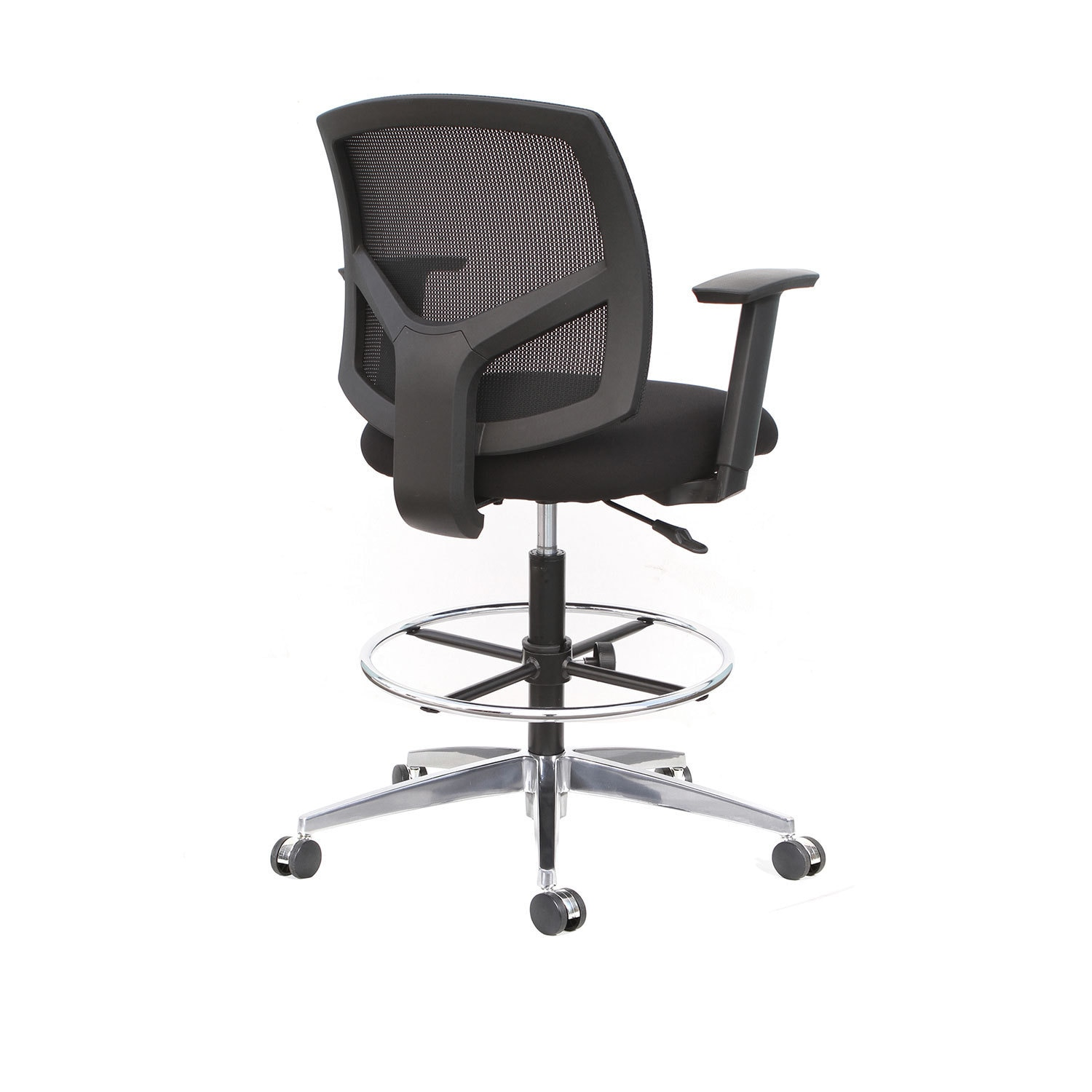 Shop Thorntonu0027s Office Supplies Forge Black Mid Back Mesh Back Drafting  Stool   Free Shipping Today   Overstock   14676361