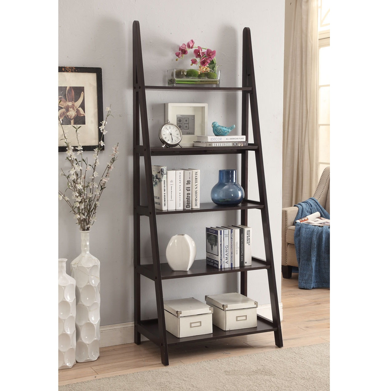 Shop Espresso Colored Wood 28x72 Ladder Style Bookcase   Free Shipping  Today   Overstock.com   14676471
