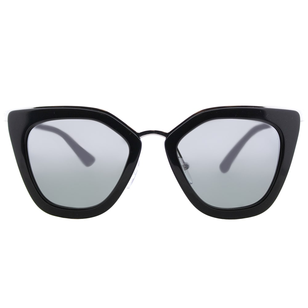 8b30476a859 Shop Prada PR 53SS 1AB6N2 Cinema Black Silver Plastic Cat-Eye Sunglasses  Silver Mirrored Gradient Lens - Free Shipping Today - Overstock - 14677286