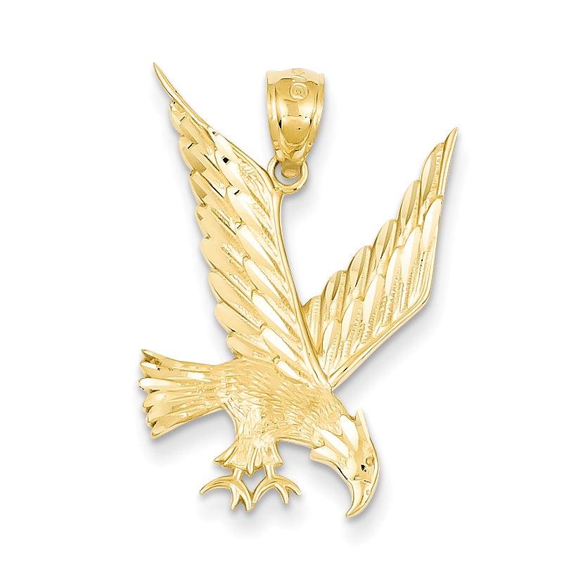 14 karat yellow gold diamond cut eagle pendant with 18 inch chain 14 karat yellow gold diamond cut eagle pendant with 18 inch chain free shipping today overstock 21212932 aloadofball Gallery
