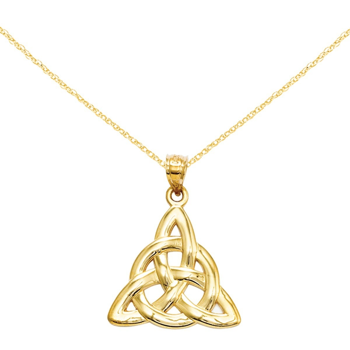 Shop 14 karat yellow gold trinity pendant with 18 inch chain free shop 14 karat yellow gold trinity pendant with 18 inch chain free shipping today overstock 14678777 aloadofball Gallery