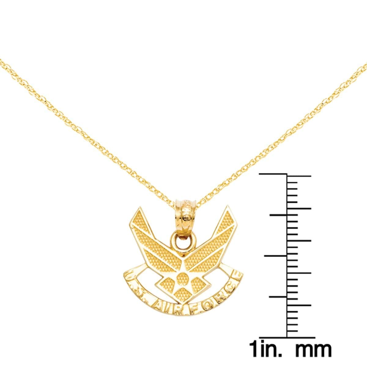 Shop versil 14k yellow gold us air force pendant with 18 inch gold shop versil 14k yellow gold us air force pendant with 18 inch gold cable chain on sale free shipping today overstock 14678778 aloadofball Choice Image