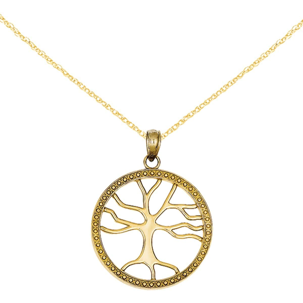 Tree of Life 18-karat mother-of-pearl 20mm necklace with spring ring clasp. UMJOJTV