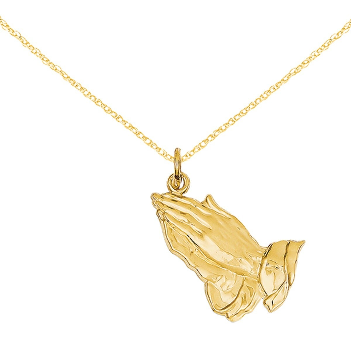 Shop 14k gold praying hands pendant with 18 inch chain free shop 14k gold praying hands pendant with 18 inch chain free shipping today overstock 14679230 aloadofball Choice Image