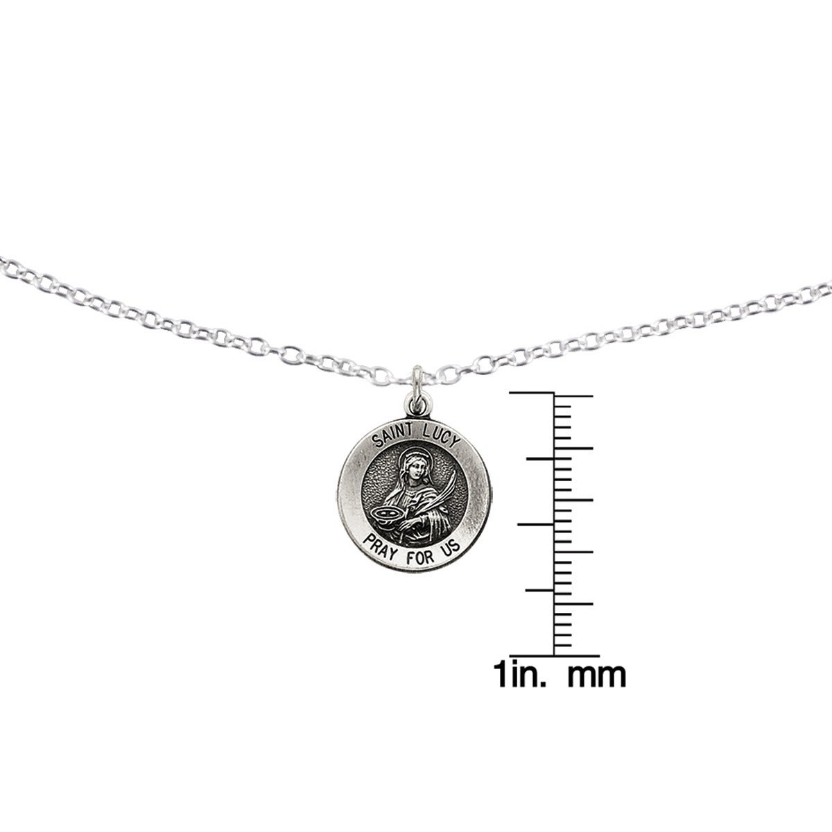 a37d57f165e Shop Versil Sterling Silver Antiqued Saint Lucy Medal with 18-inch Chain -  Free Shipping On Orders Over $45 - Overstock.com - 14679793