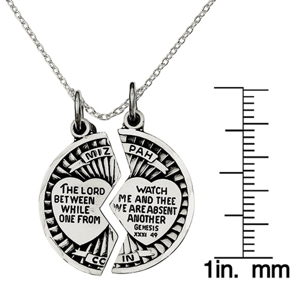 Sterling silver satin antiqued 2 piece mizpah pendant with 18 chain sterling silver satin antiqued 2 piece mizpah pendant with 18 chain free shipping today overstock 21213966 aloadofball Choice Image