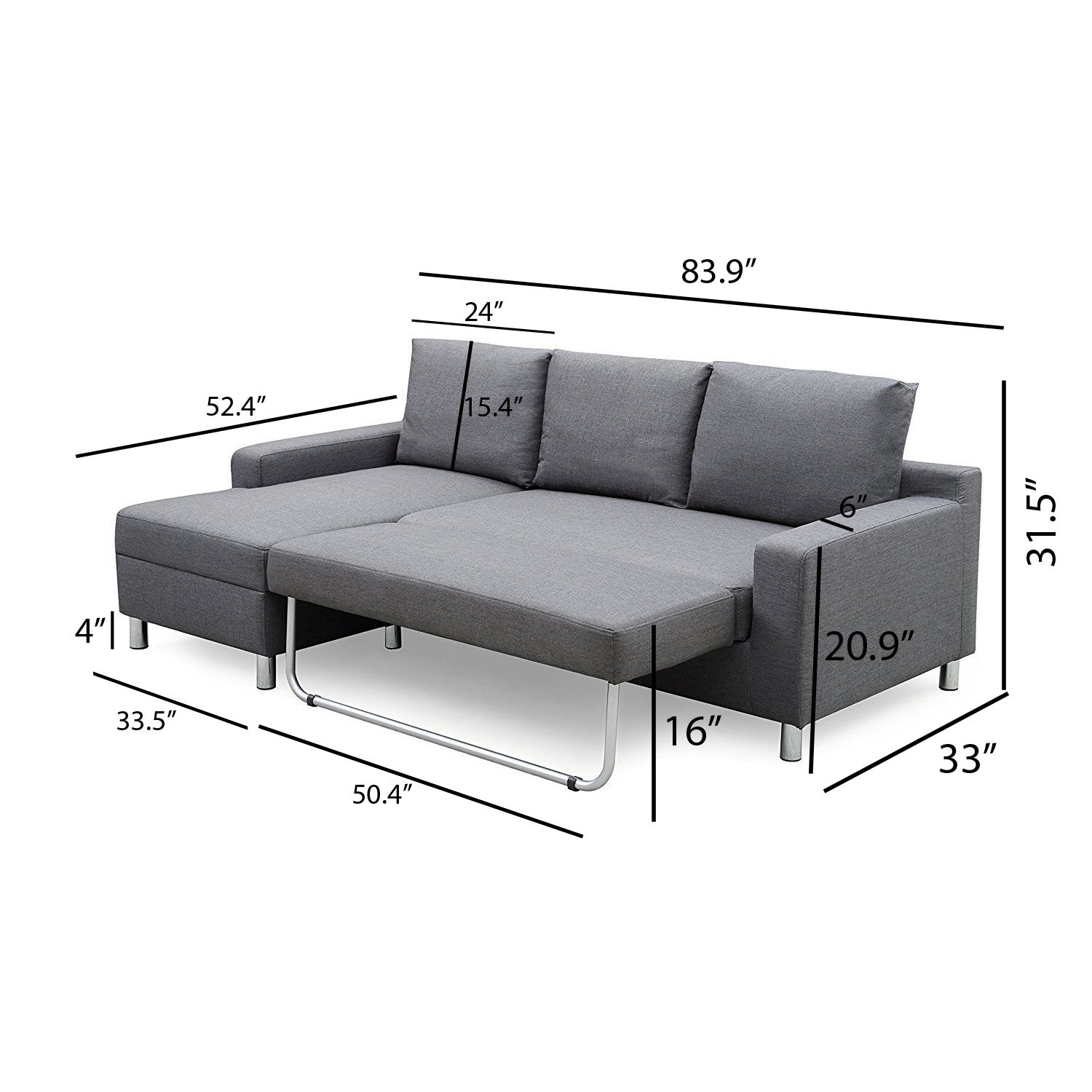 Shop US Pride Furniture Hampton Left Side Facing Linen Sectional Sofa Bed    Free Shipping Today   Overstock.com   14679971