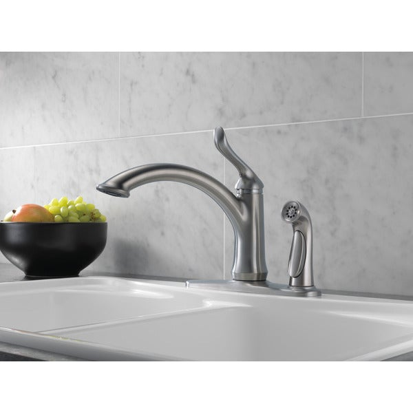 Delta Linden Artctic Stainless Steel Kitchen Faucet   Free Shipping Today    Overstock.com   21214210