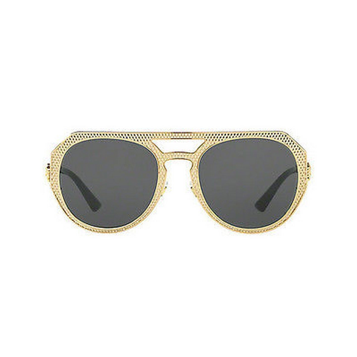 9b38817f8ff Shop Versace Women s VE2175 100287 60 Round Metal Plastic Gold Grey  Sunglasses - Free Shipping Today - Overstock - 14680421