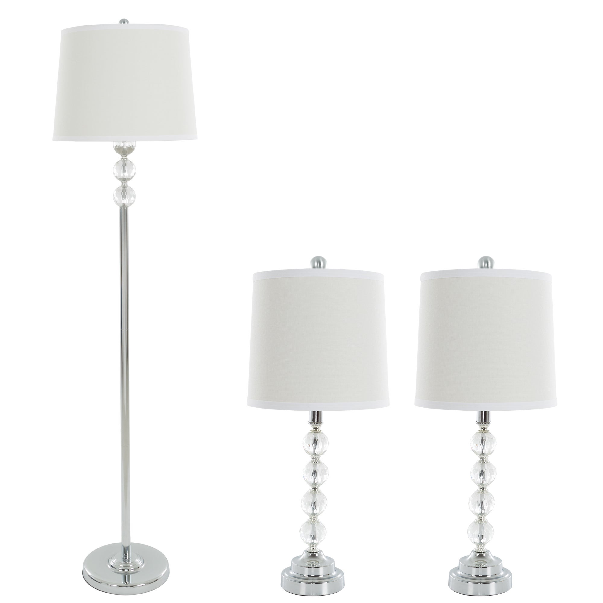 Shop Table Lamps And Floor Lamp Set Of 3 Faceted Crystal Balls 3