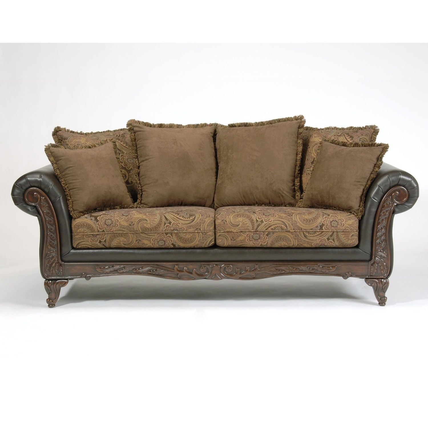 Shop San Marino 2 Tone Chocolate Brown Fabric Sofa   Free Shipping Today    Overstock.com   14681473