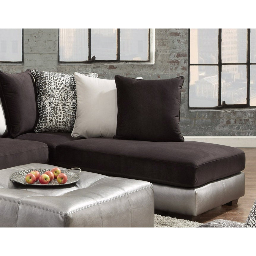 Shimmer Pewter Microfiber Silver Grey Sectional Sofa And Ottoman Free Shipping Today 14681488