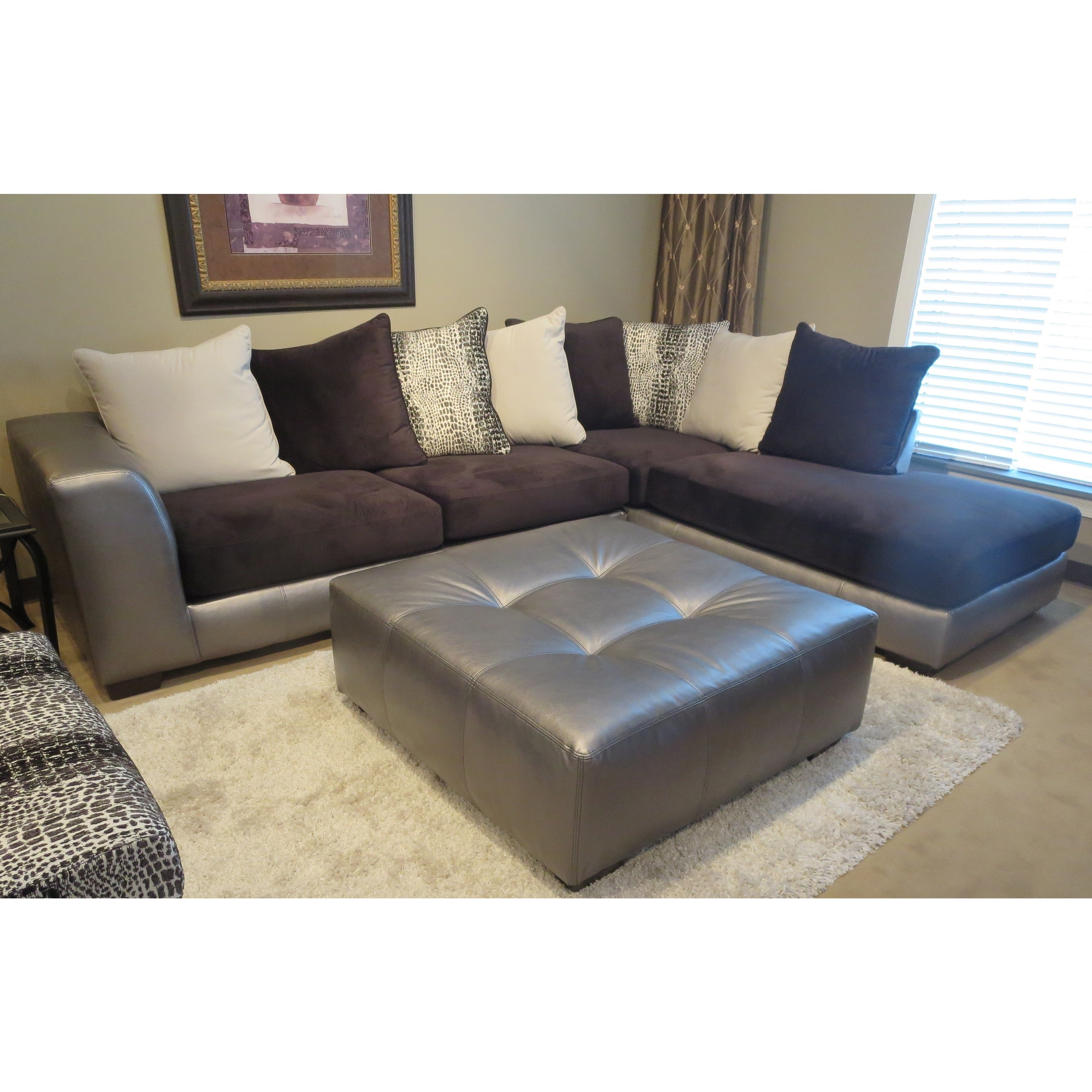 Shop Shimmer Pewter Microfiber Silver Grey Sectional Sofa And ...
