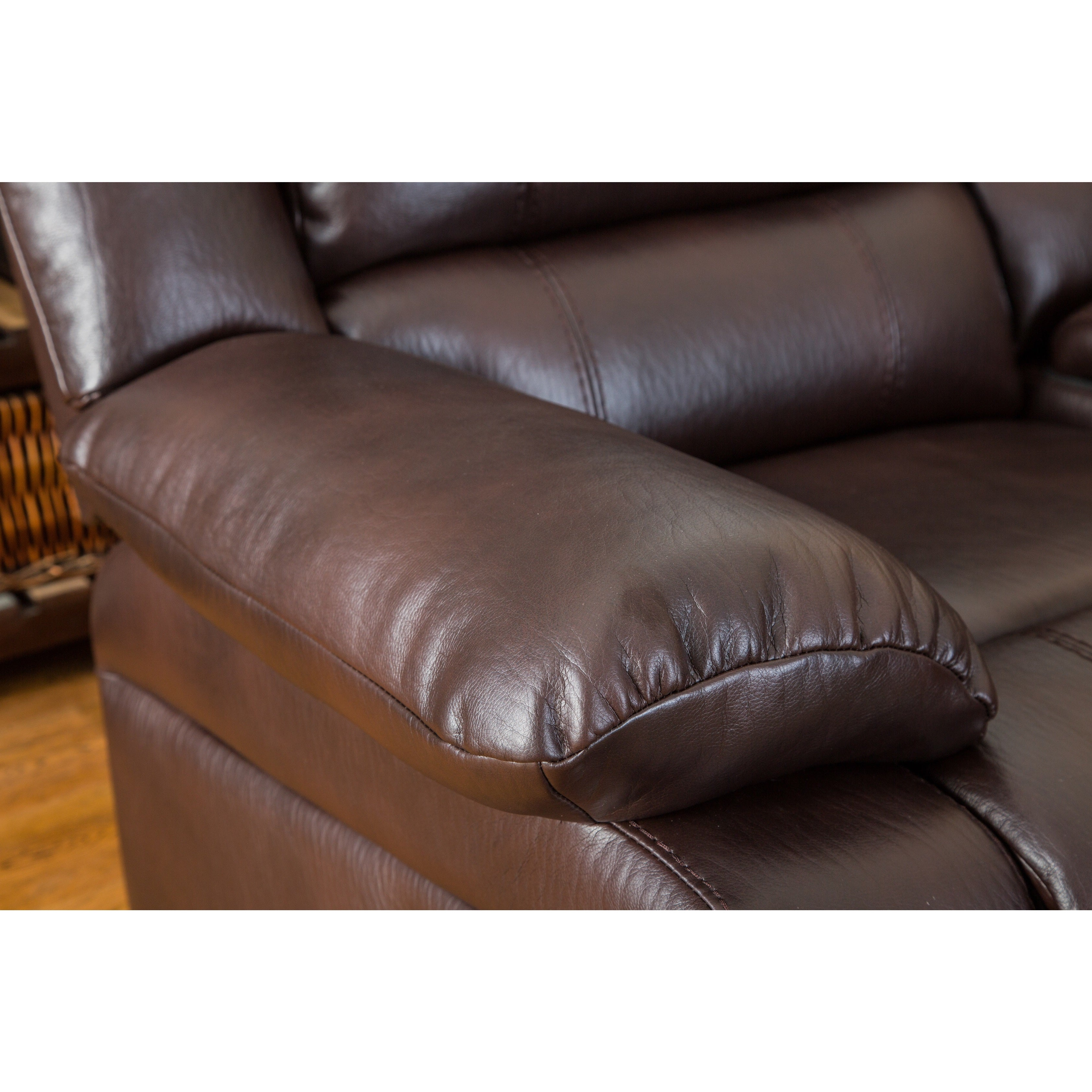 Shop Juno Brown Air Leather Sectional Reclining Sofa With Console   Free  Shipping Today   Overstock.com   14681522