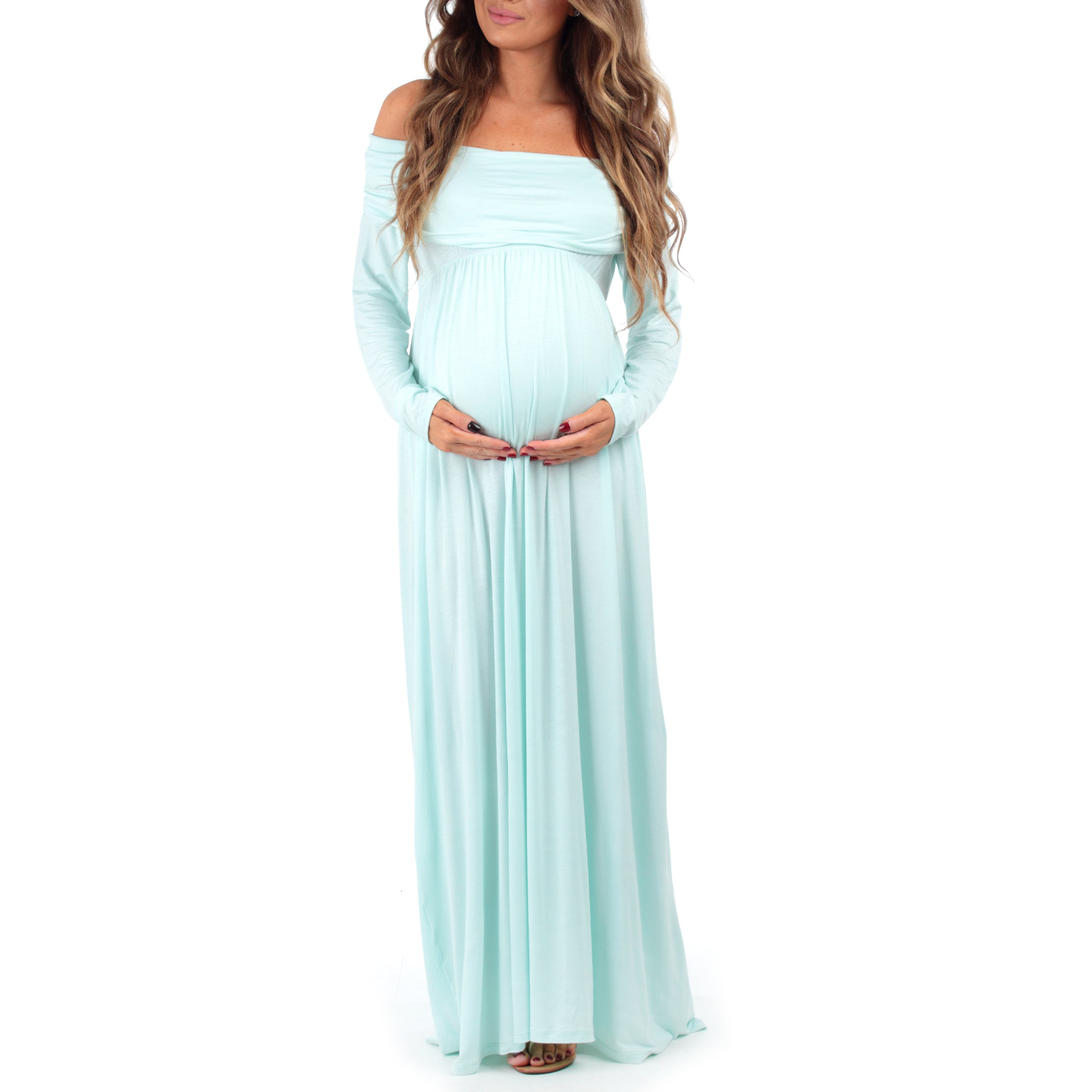 d93cffd205f Shop Mother Bee Women s Over-the-shoulder Ruched Maternity and Nursing Dress  - Free Shipping On Orders Over  45 - Overstock - 14681555