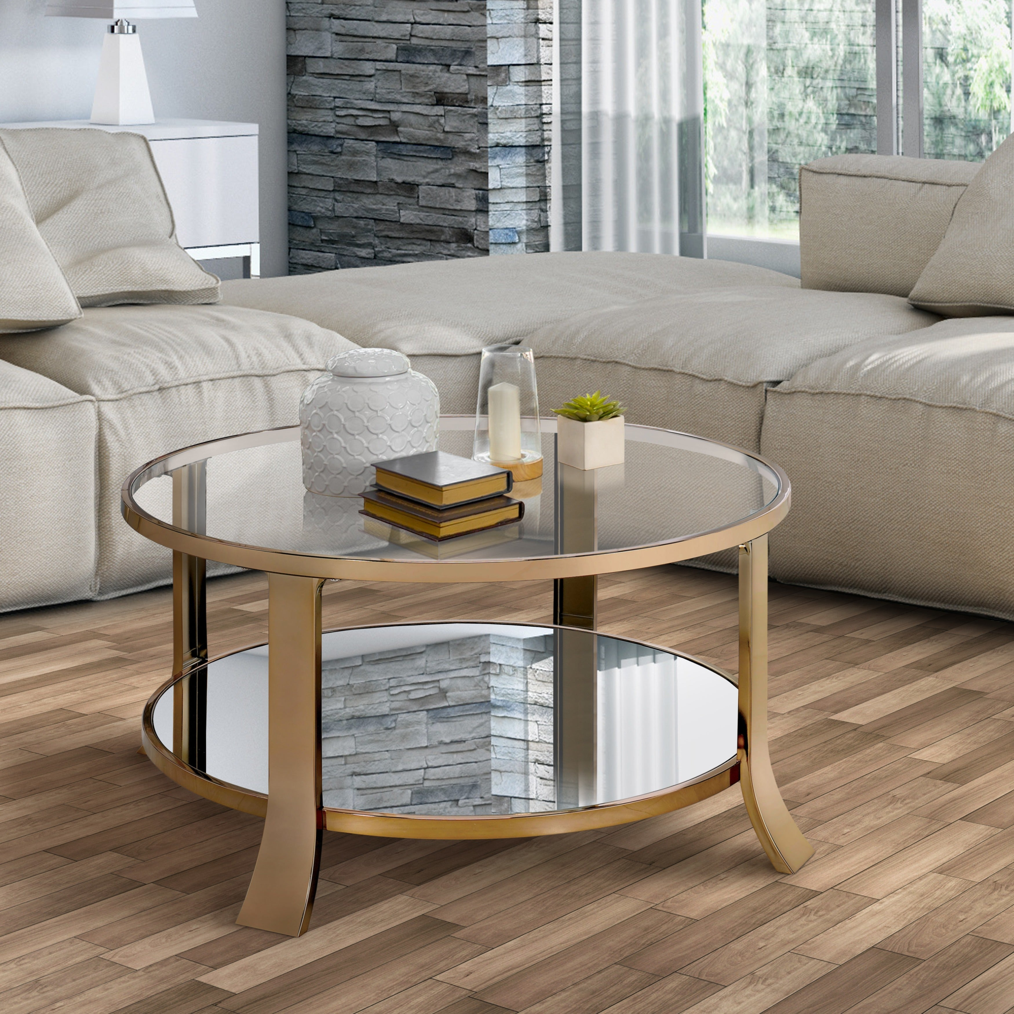 Furniture of America Laya Contemporary Glam Champagne Tempered