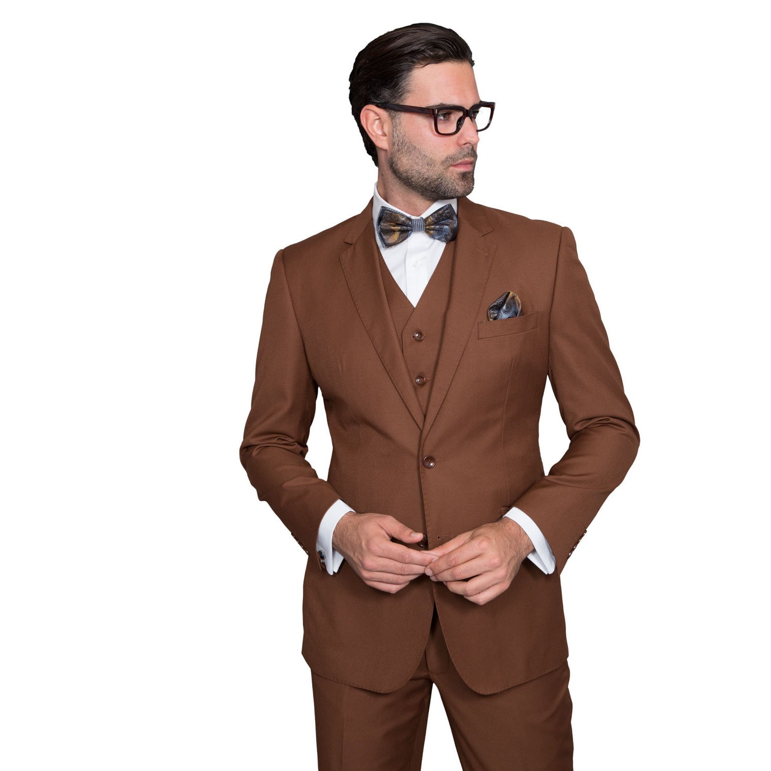 c07e318741c Shop Statement Suits Men s Wool Solid Color 3-piece Suit - On Sale - Free  Shipping Today - Overstock - 14681862