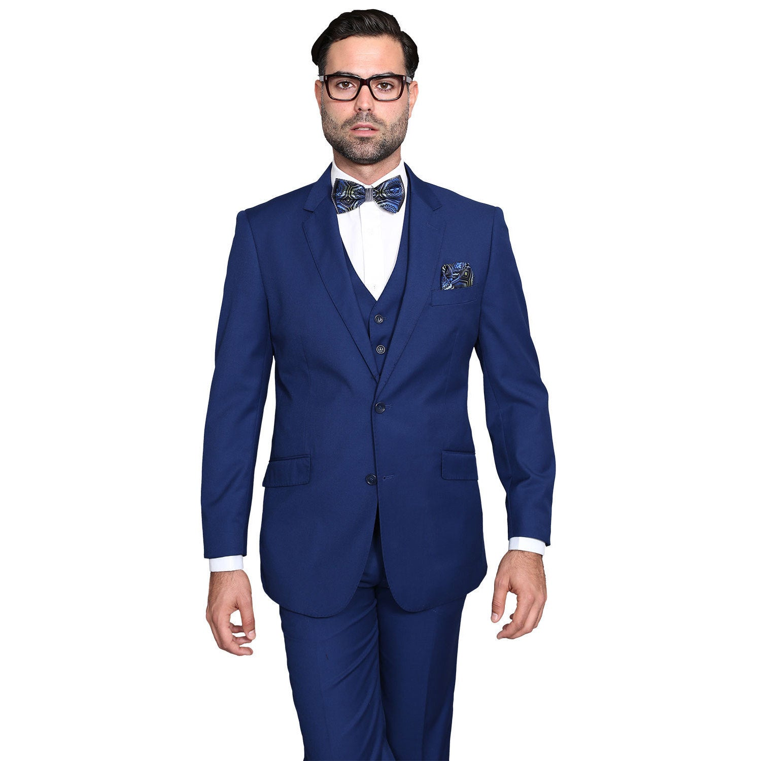 e9c36cc18c1c Shop Statement Suits Men's Wool Solid Color 3-piece Suit - On Sale - Free  Shipping Today - Overstock - 14681862