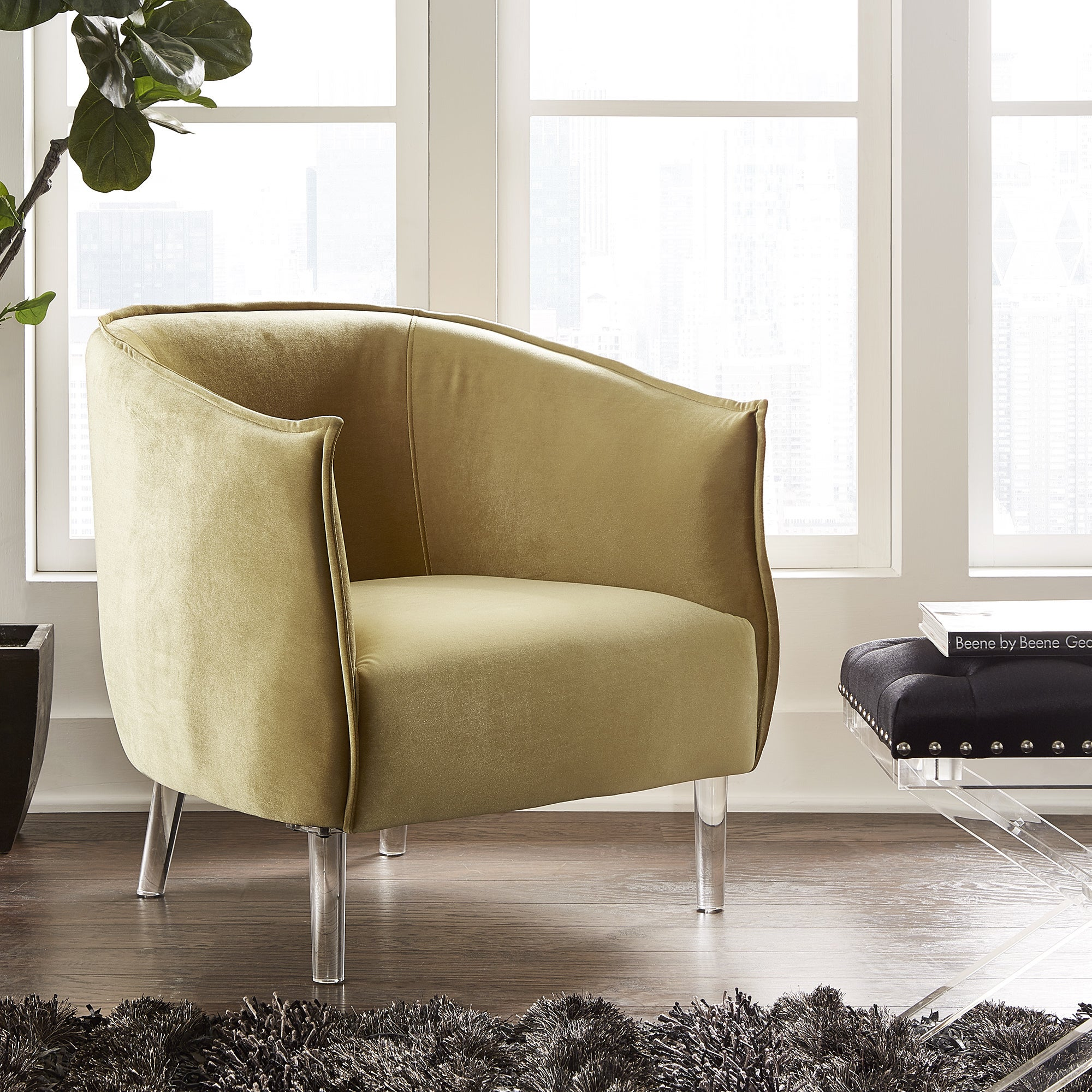 Vianne Velvet Curved Back Acrylic Leg Accent Chair by iNSPIRE Q Bold - Free  Shipping Today - Overstock.com - 21223238