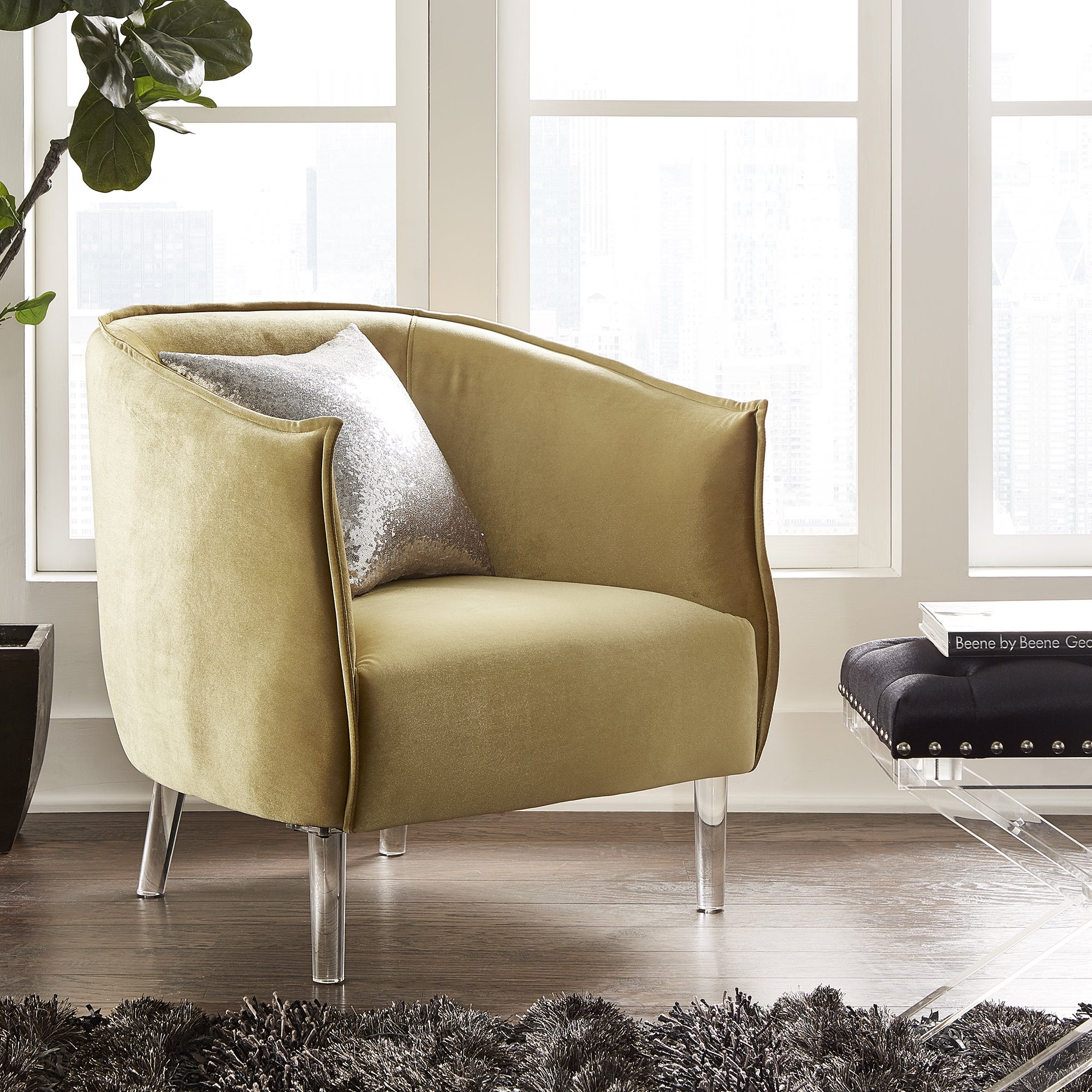 Vianne Velvet Curved Back Acrylic Leg Accent Chair By INSPIRE Q Bold   Free  Shipping Today   Overstock.com   21223238