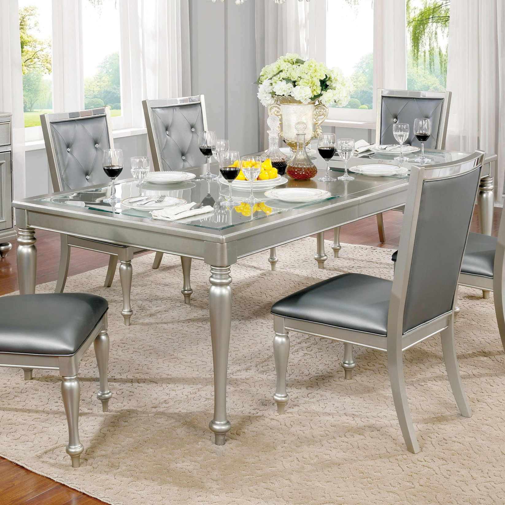 Shop furniture of america glendel glam embossed glass top silver grey dining table with 18 inch leaf on sale free shipping today overstock com