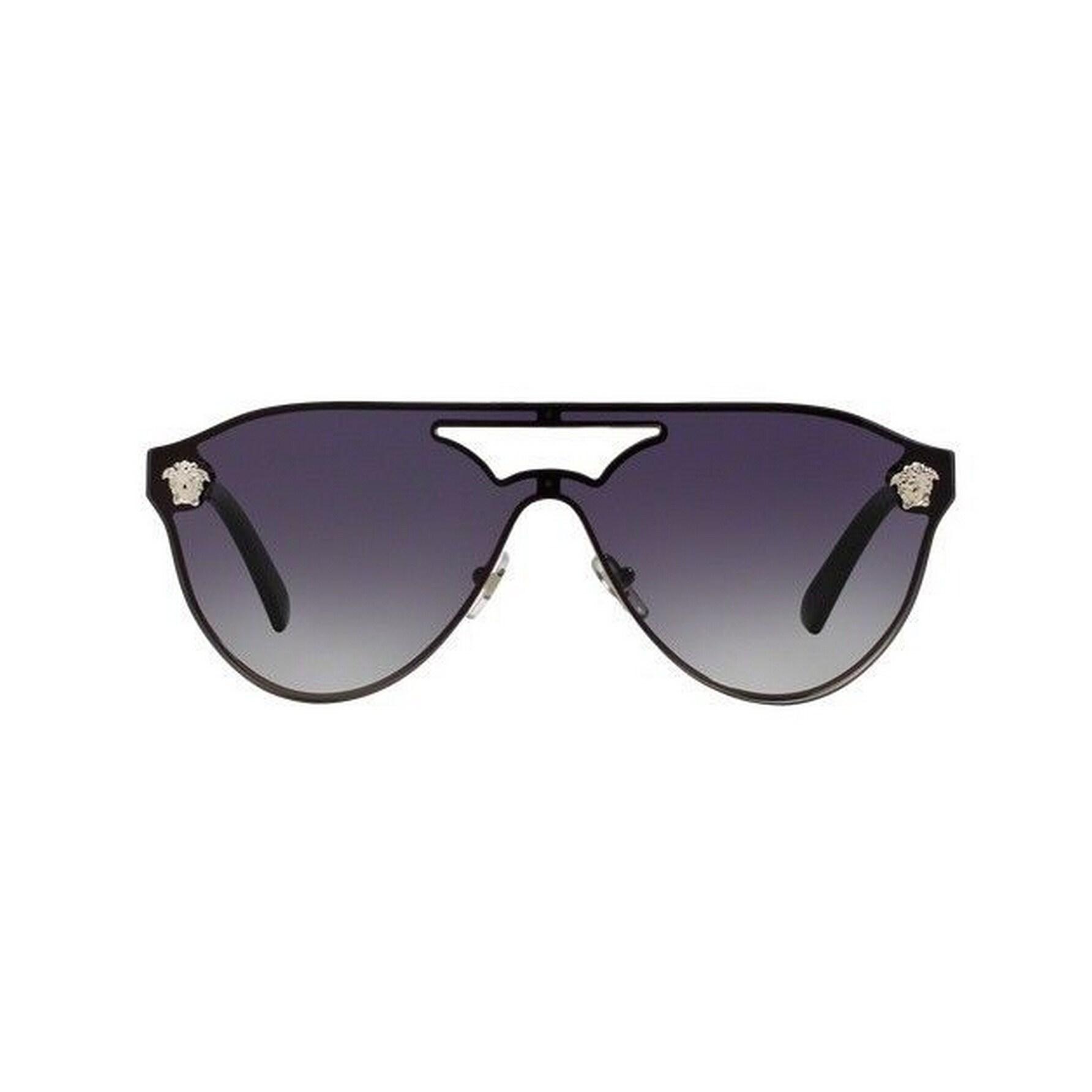 d50459ffbb6 Shop Versace Women s VE2161 10008G 42 Aviator Metal Plastic Grey Sunglasses  - Free Shipping Today - Overstock.com - 14692040