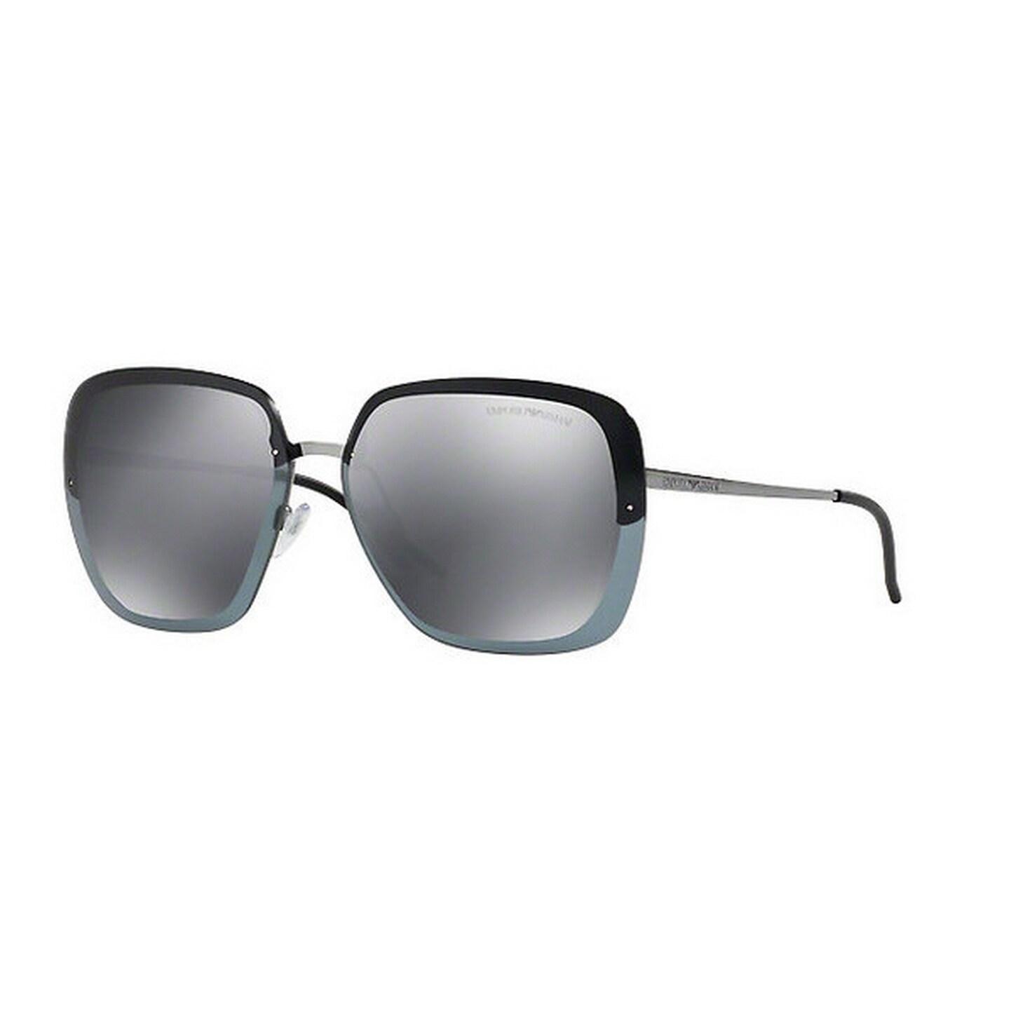 25cda030ea Emporio Armani Women s EA2045 30106G 62 Square Metal Plastic Gunmetal Grey  Sunglasses