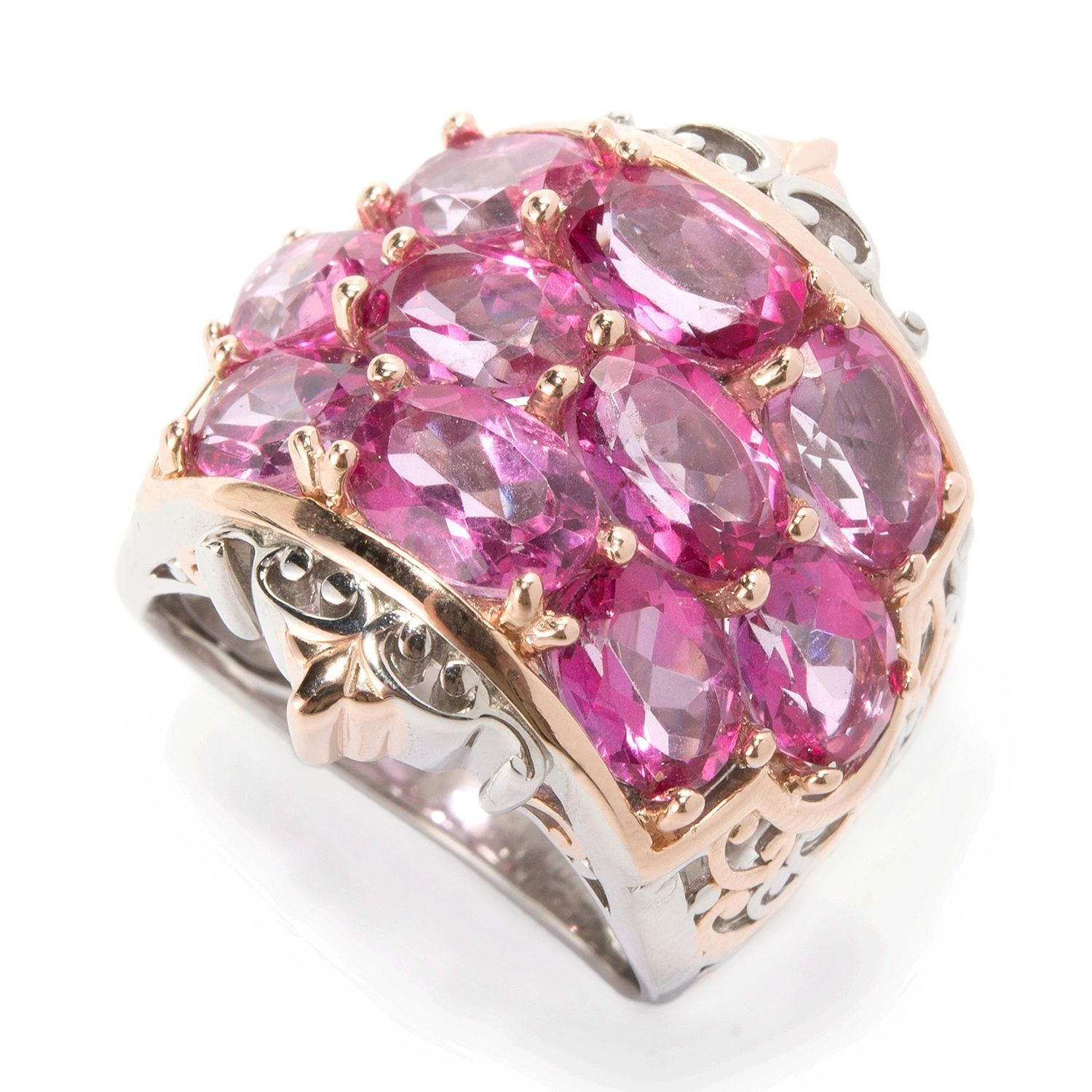 Shop Michael Valitutti Palladium Silver Pink Topaz 10-Stone Band ...