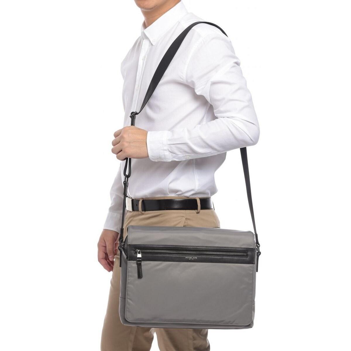 5827bdcdd2ed Shop Michael Kors Kent Nylon Large Steel Grey Messenger Bag - Free Shipping  Today - Overstock - 14692620