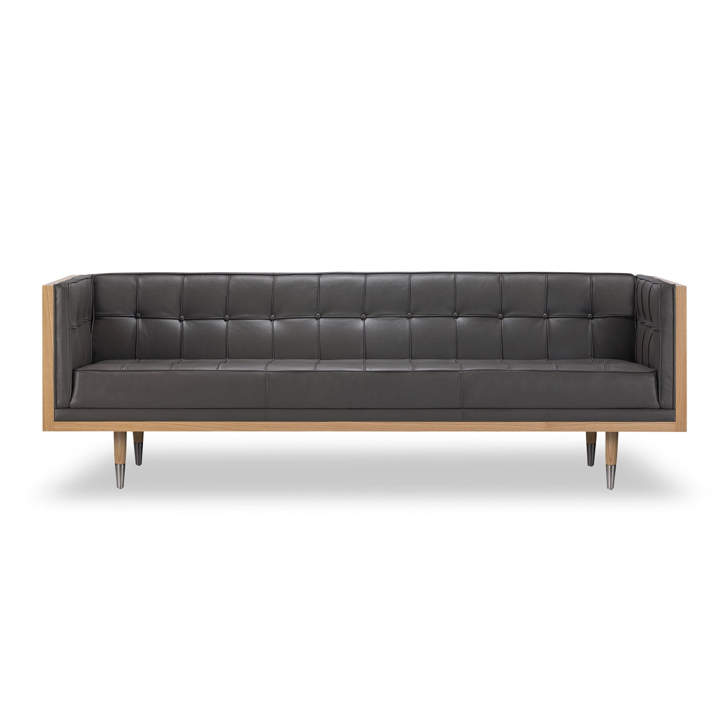 Shop Kardiel Woodrow Midcentury Modern Box Premium Aniline Leather Sofa    Free Shipping Today   Overstock.com   14693154