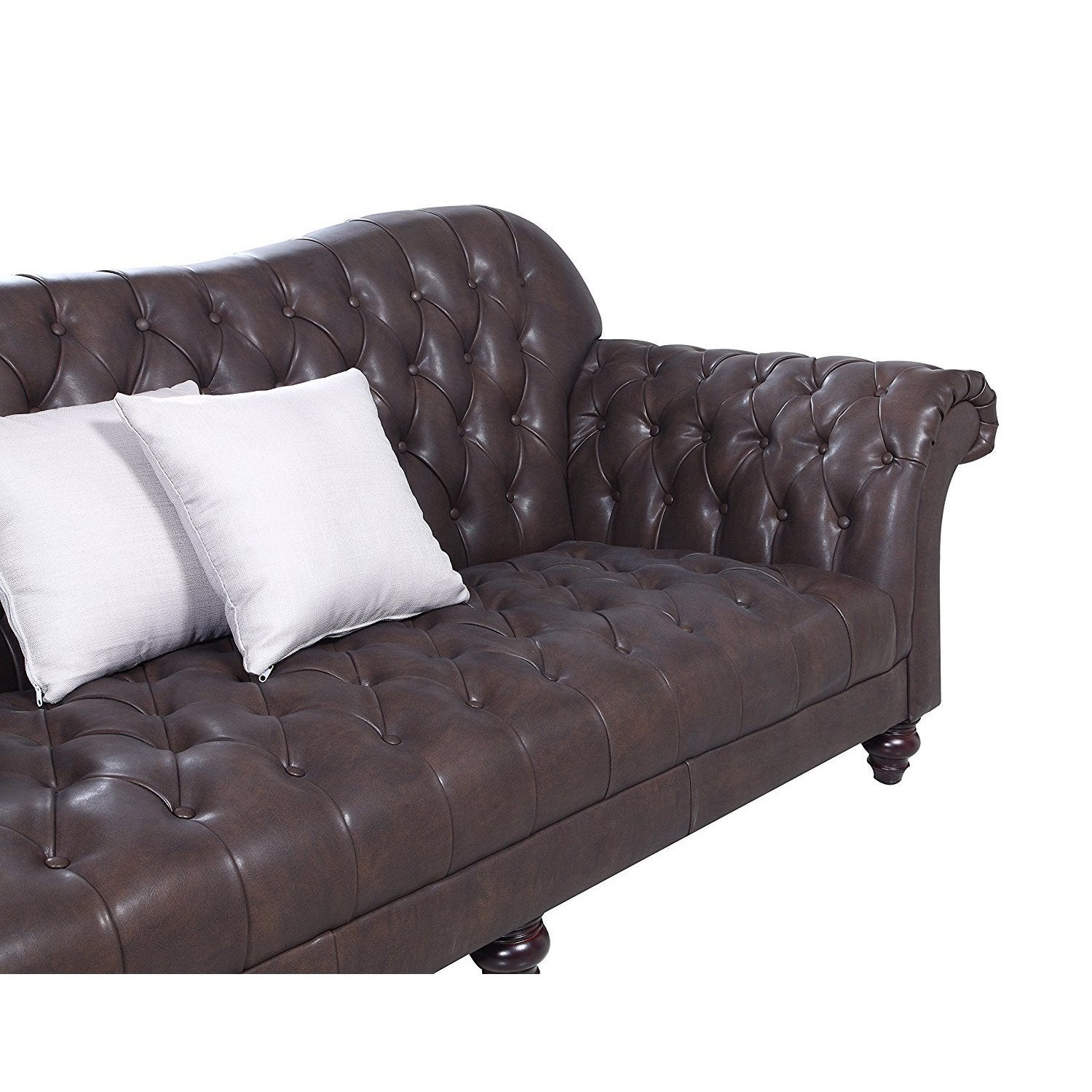 Clic Tufted Real Italian Leather Victorian Sofa Free Shipping Today 14705847