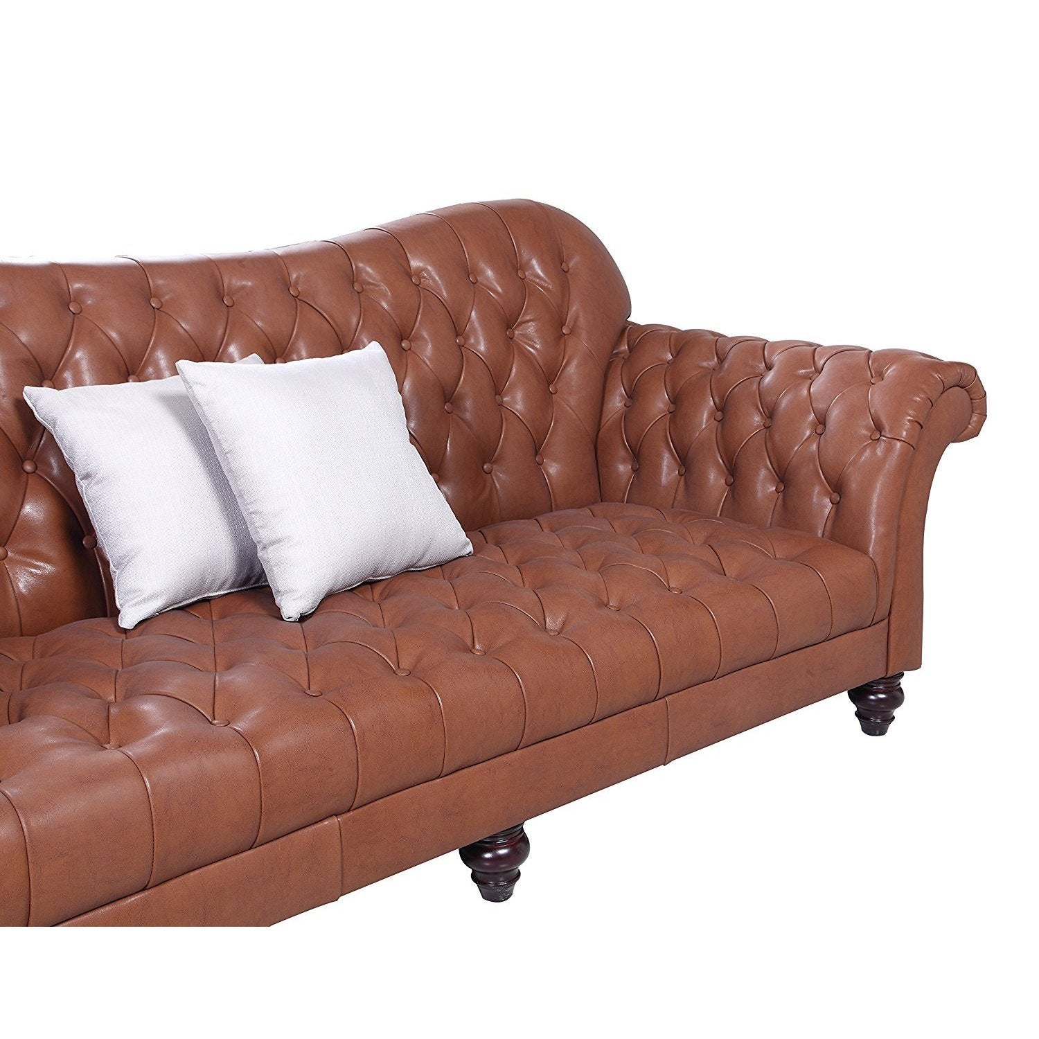 Classic Tufted Real Italian Leather Tufted Victorian Sofa   Free Shipping  Today   Overstock   21236711