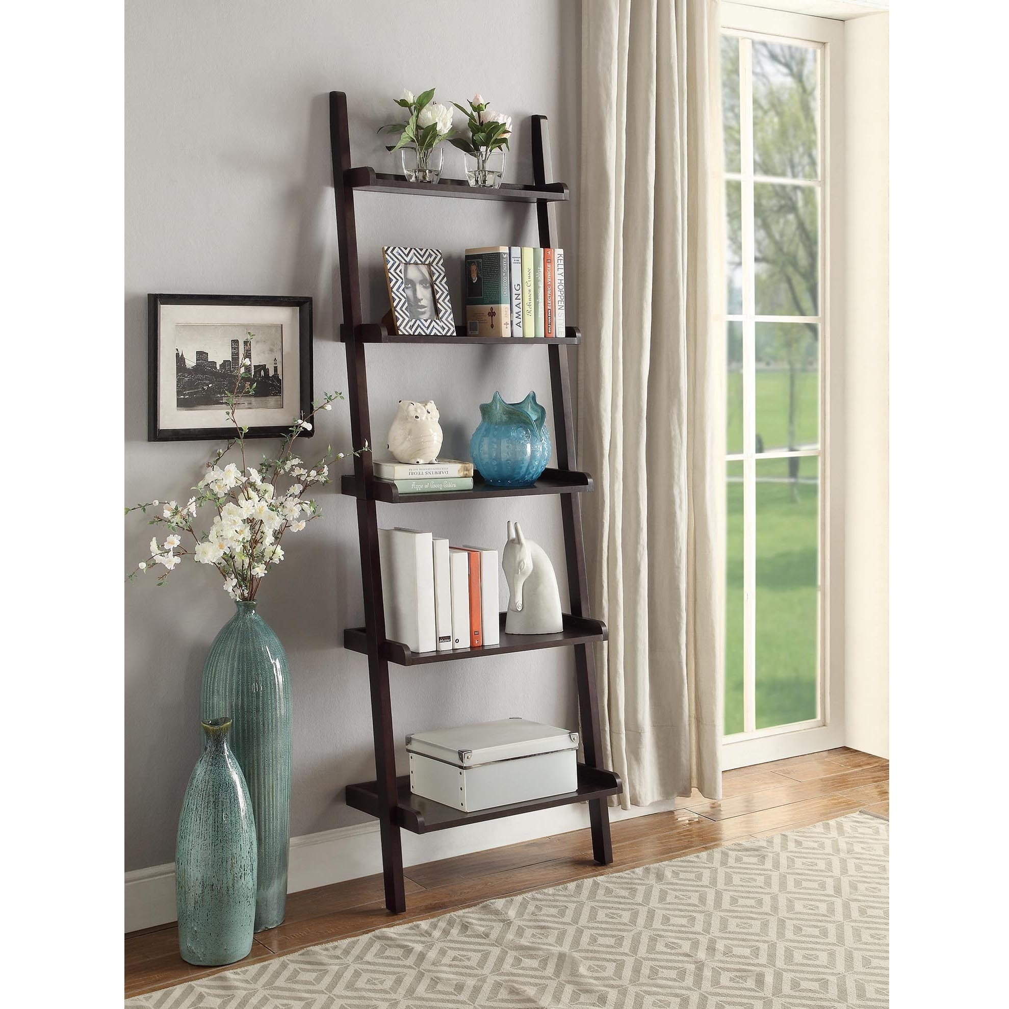 shelf home bookshelf leaning of insight designs wood decorating image ladder