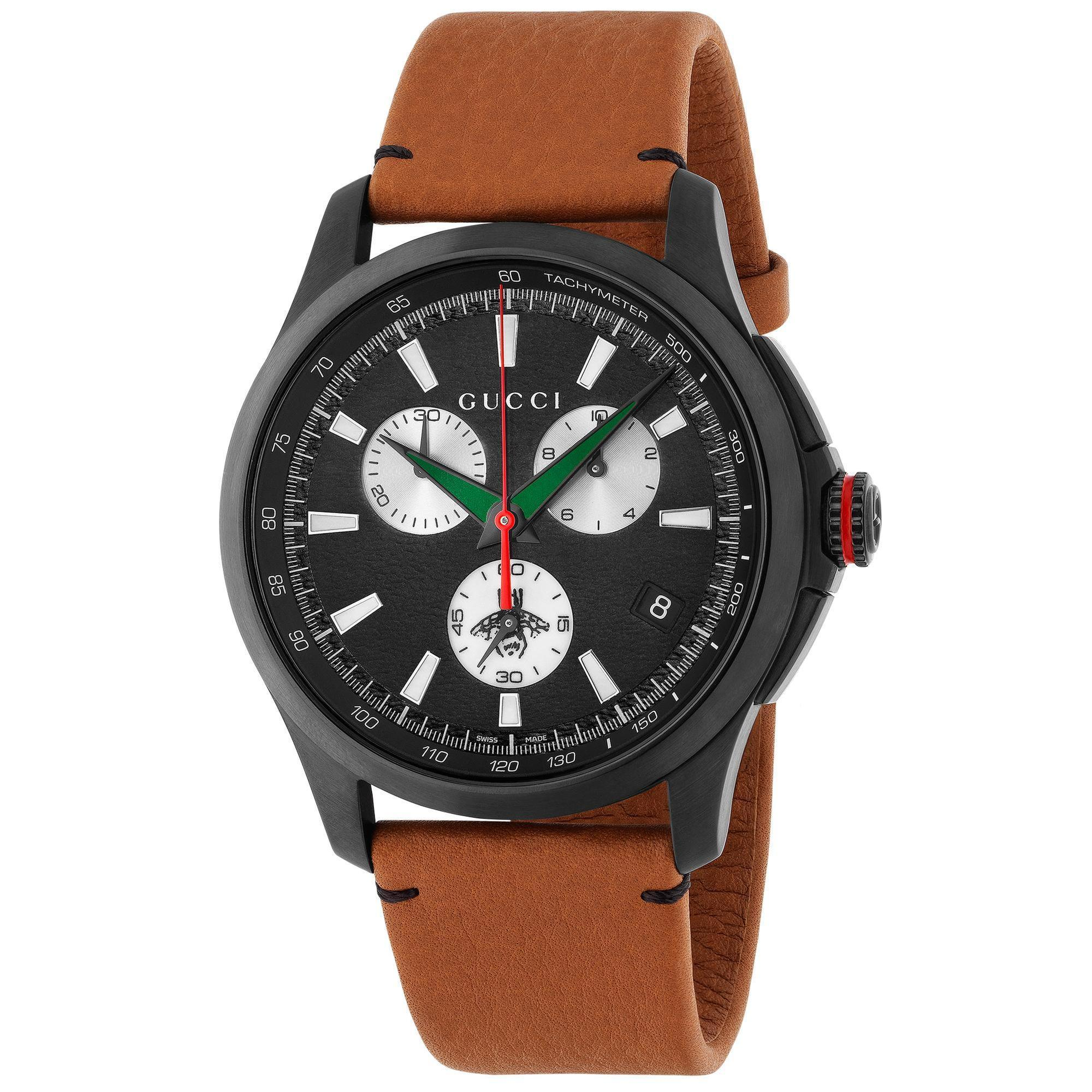 230eb13e1cb Shop Gucci Men s YA126271  G-Timeless Extra Large Bee  Chronograph Brown  Leather Watch - Free Shipping Today - Overstock - 14707209