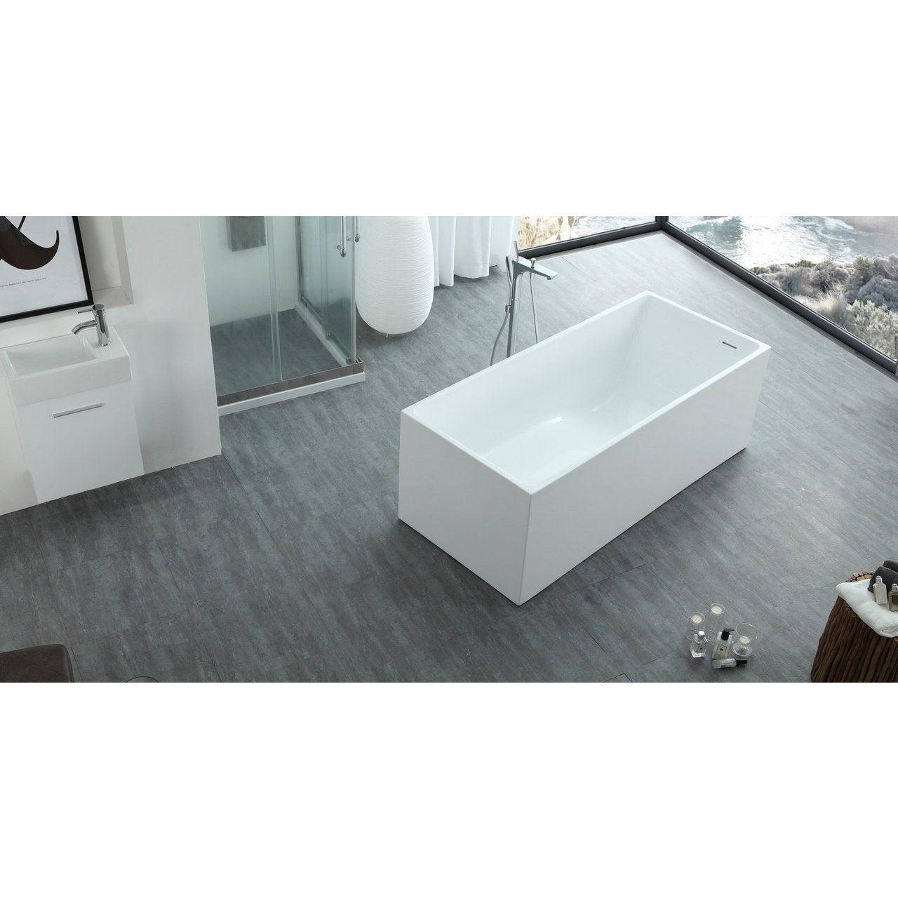 Shop HelixBath Pompeii Modern White Rectangle Slope Bathtub with ...