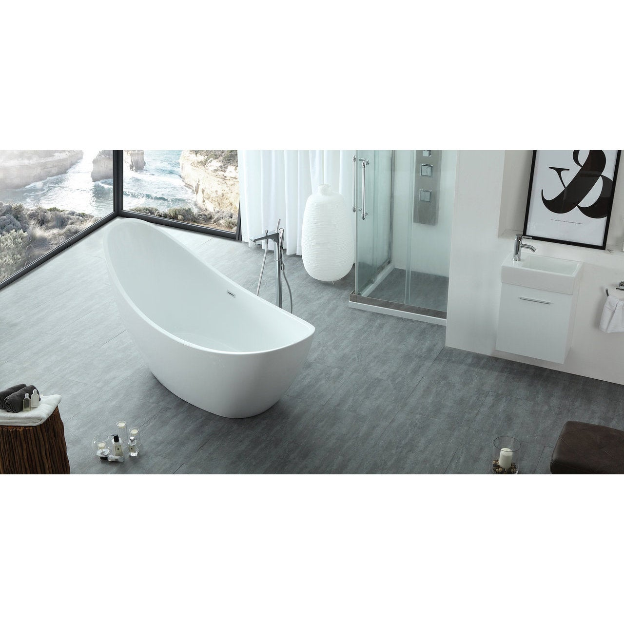 HelixBath Odysseus White Freestanding Swooping Slipper Bathtub with ...