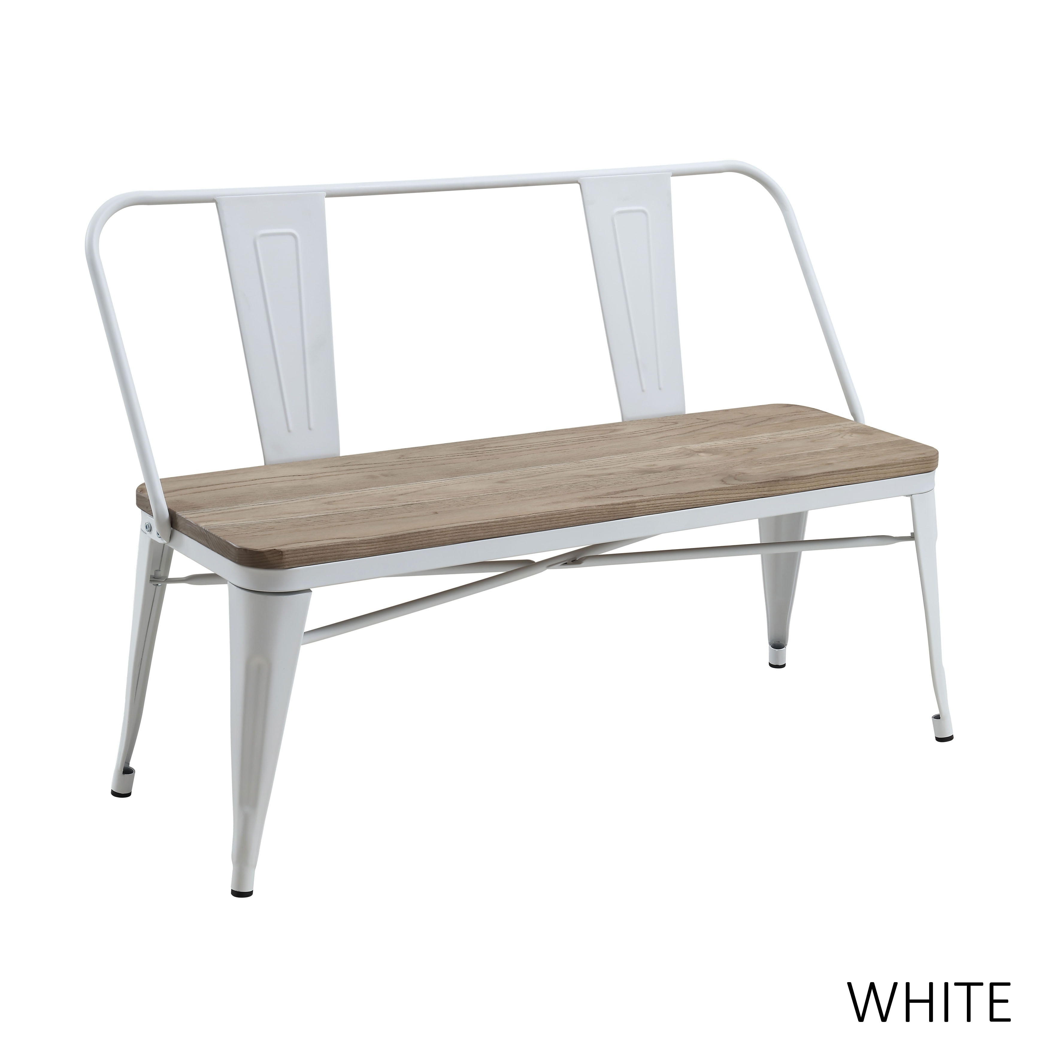 Shop Furniture Of America Tripton Industrial Metal Natural Elm Dining Bench    Free Shipping Today   Overstock.com   14709758