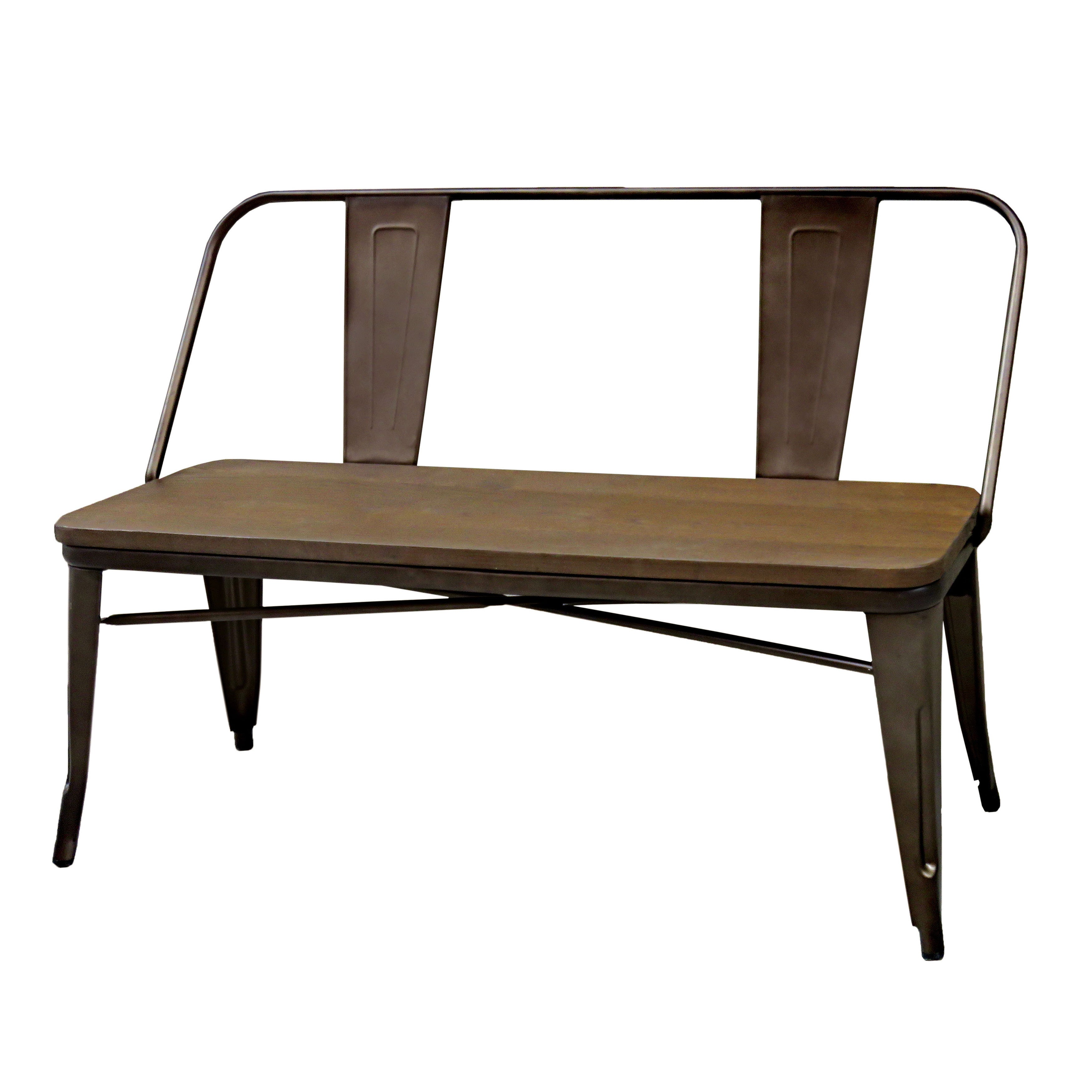 Furniture Of America Tripton Industrial Metal Natural Elm Dining Bench
