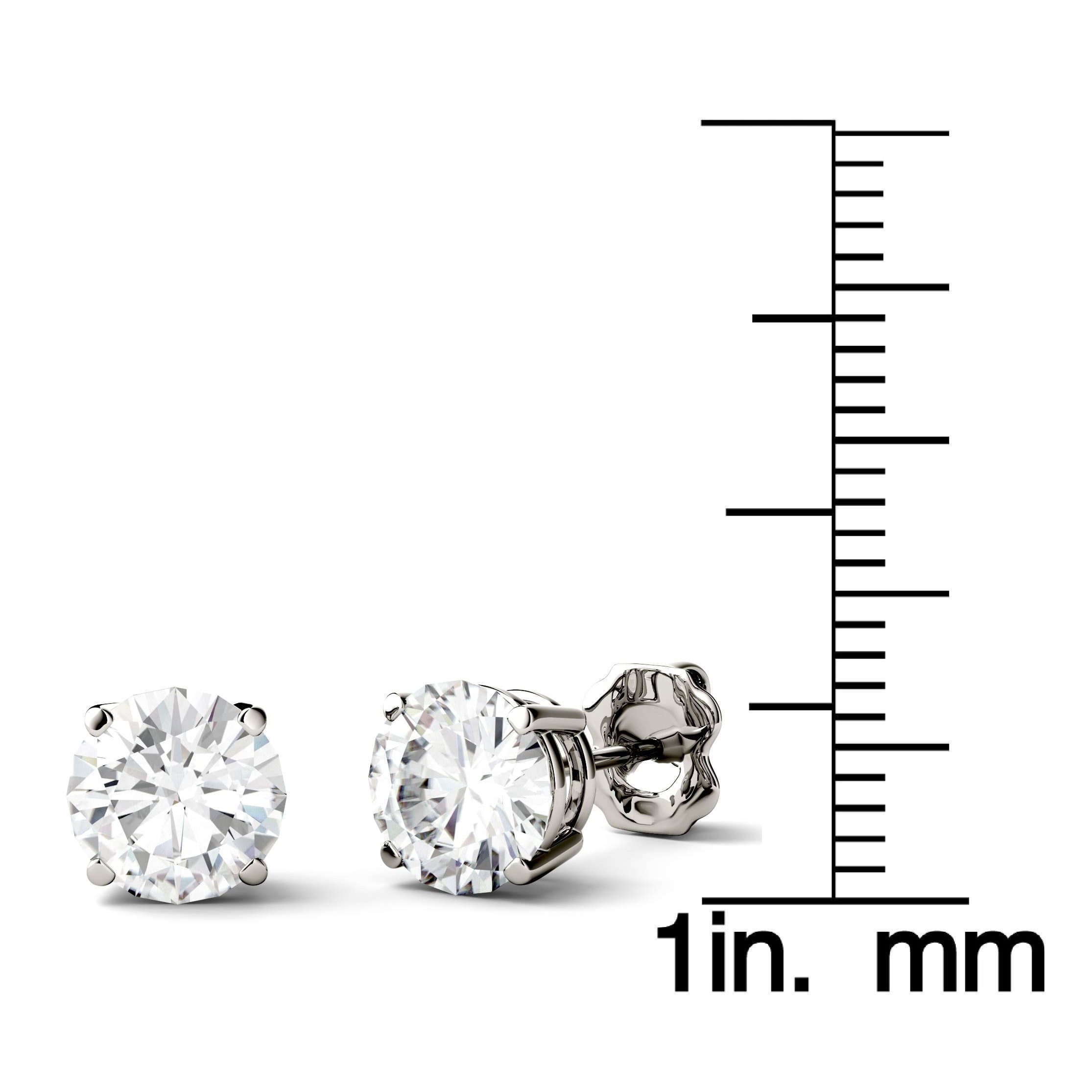 round white gold stud earrings moissanite pin studs