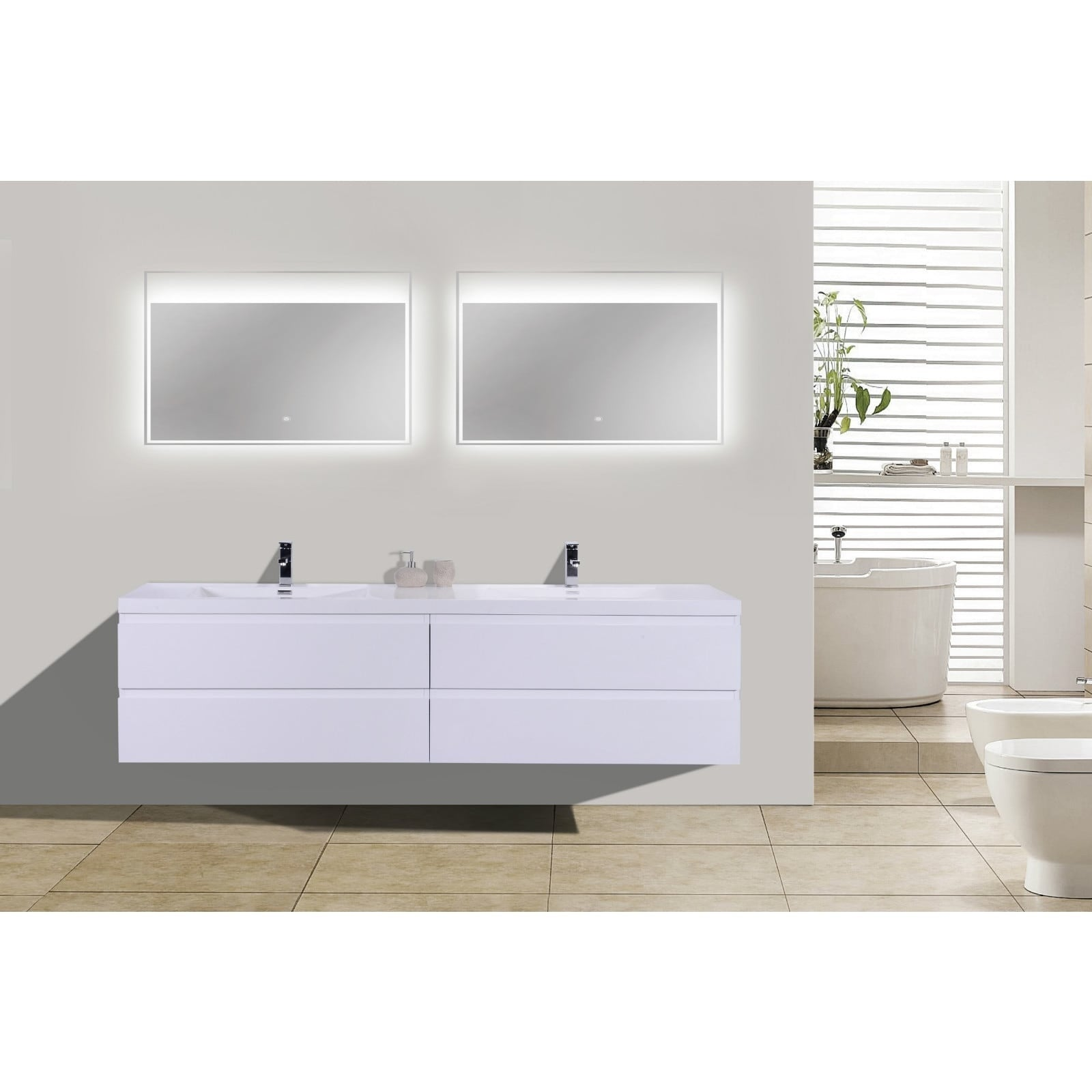 Shop moreno bath mob 84 inch wall mounted modern bathroom vanity with reinforced acrylic double sink free shipping today overstock com 14725309