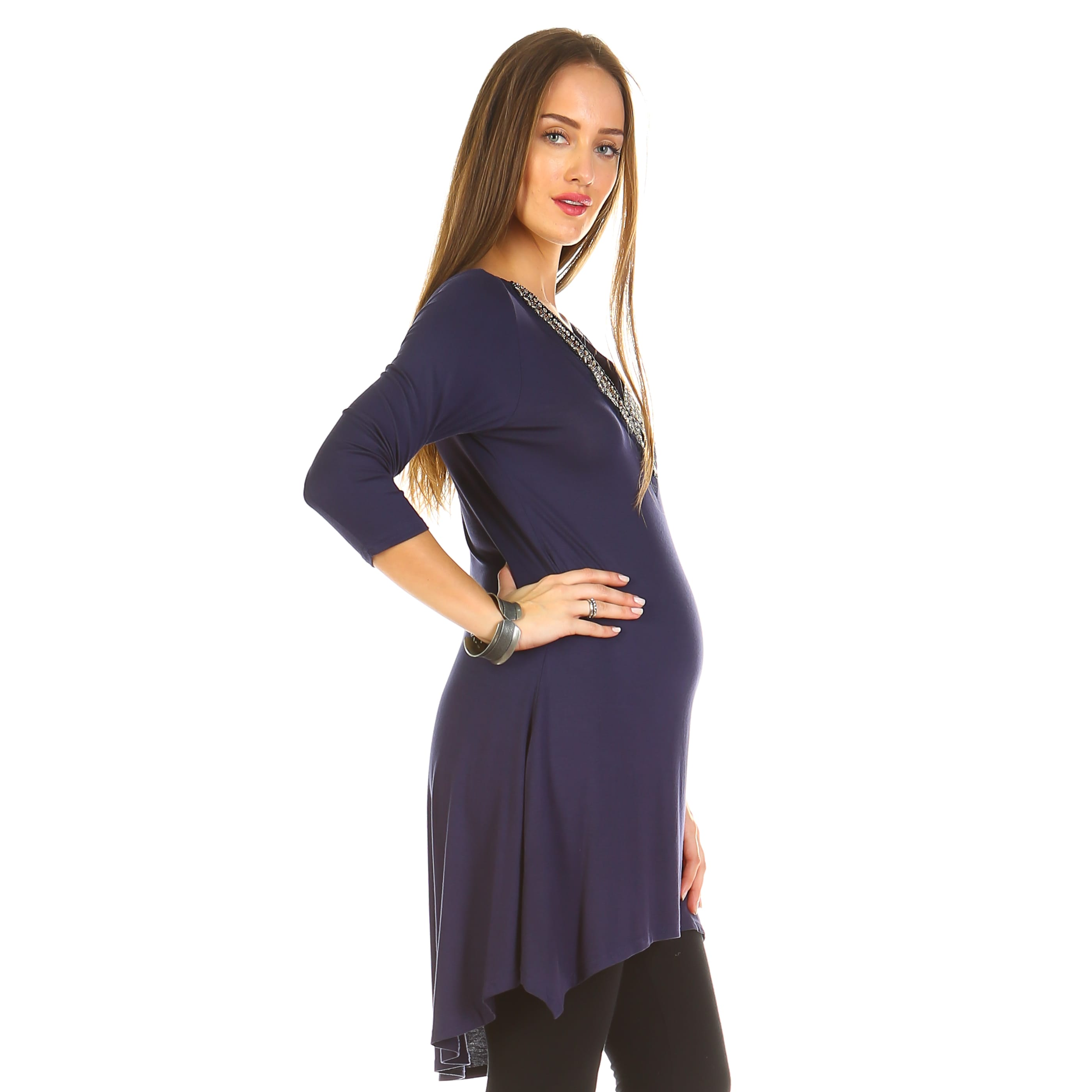 7eceae9937b Shop White Mark Sofia Embellished Maternity Tunic - Free Shipping On Orders  Over $45 - Overstock - 14725325
