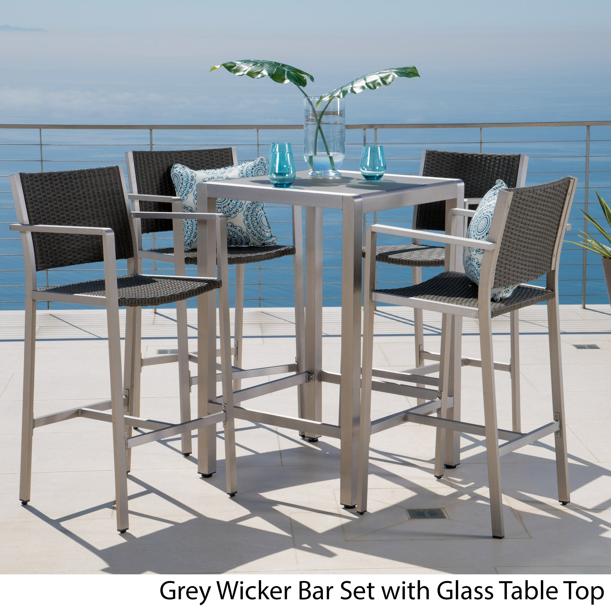 Shop Cape Coral Outdoor 5-piece Aluminum Square Bar Set by ...