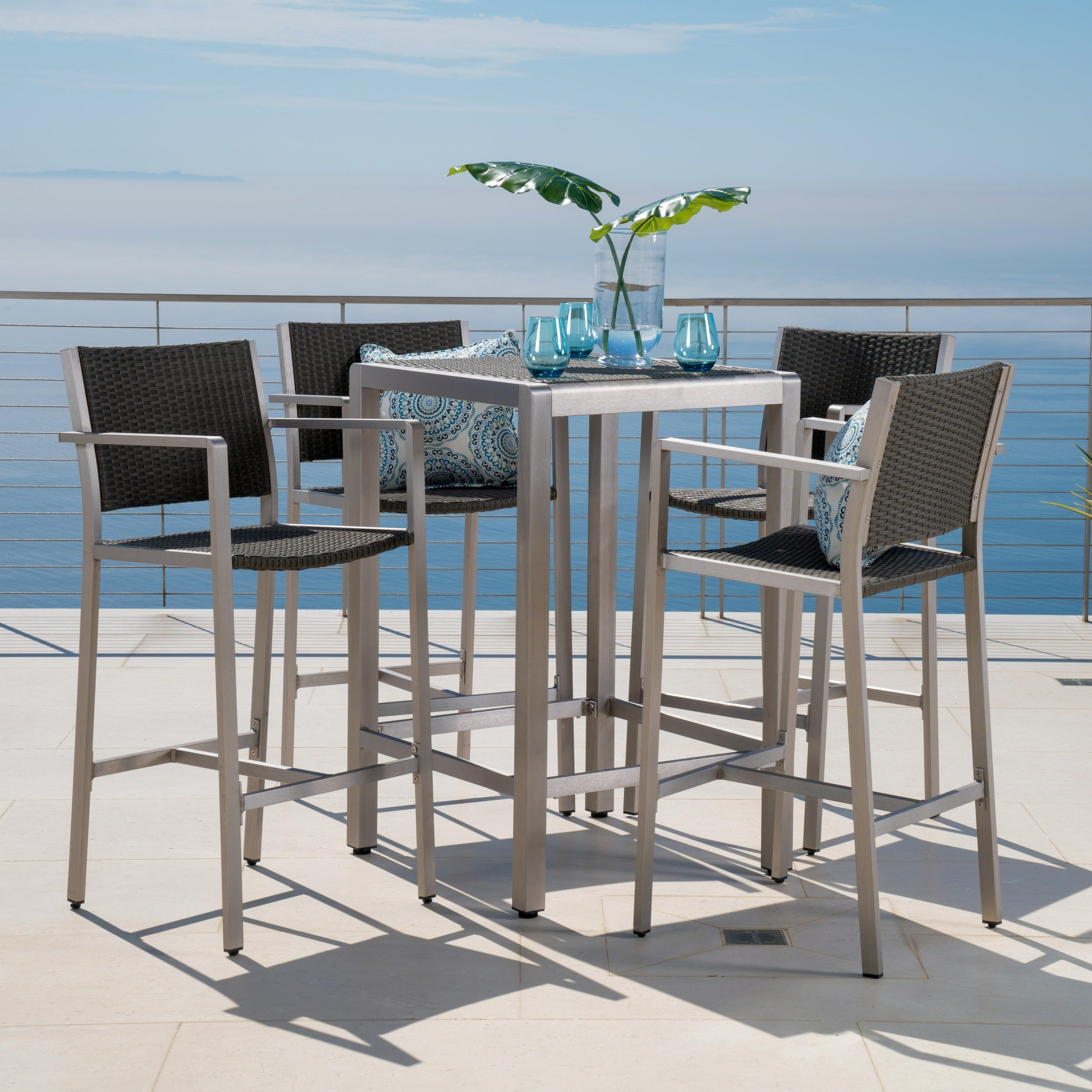 Cape Coral Outdoor 5-piece Aluminum Square Bar Set by Christopher ...