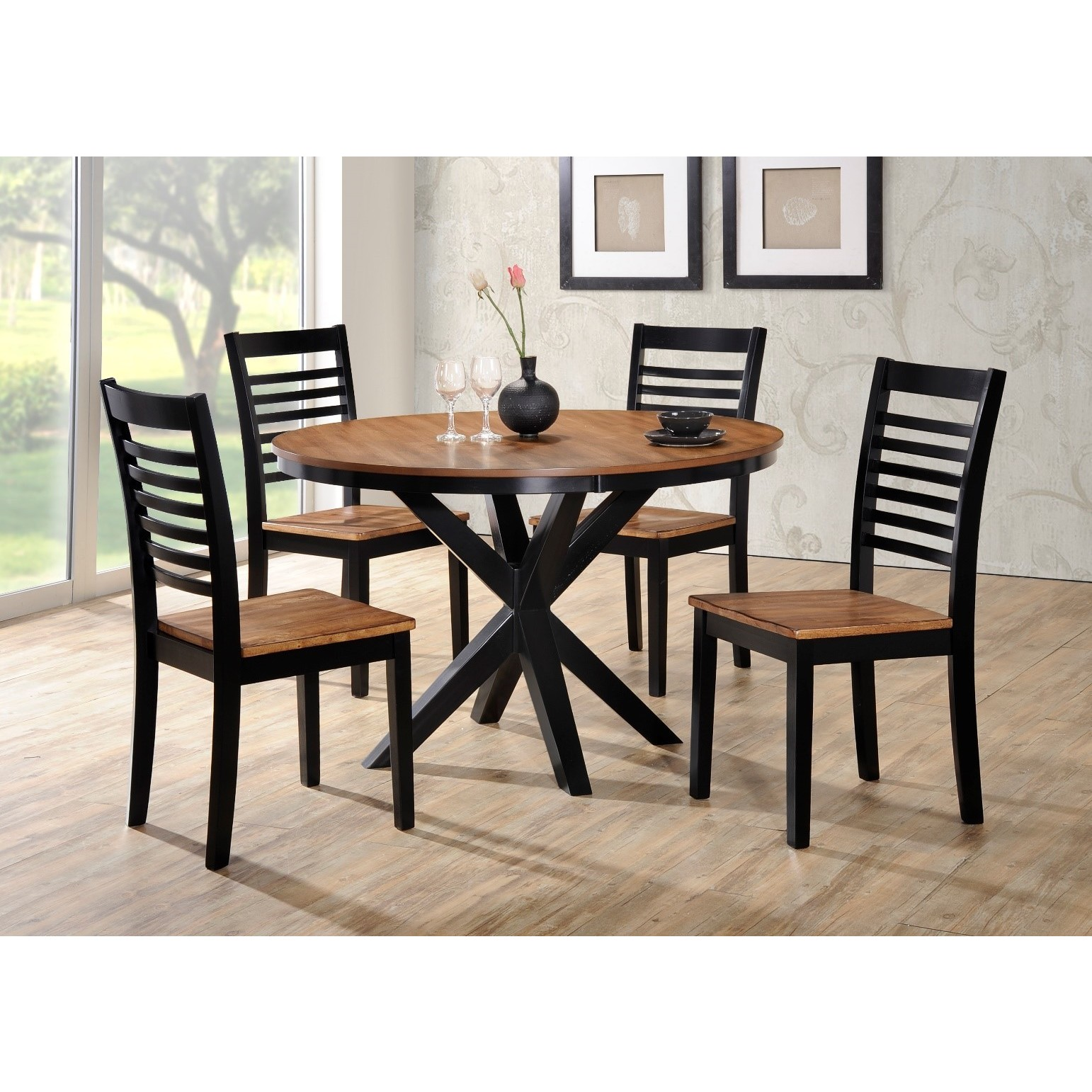 LYKE Home Light Oak and Black 48inch Round Dining Table Free