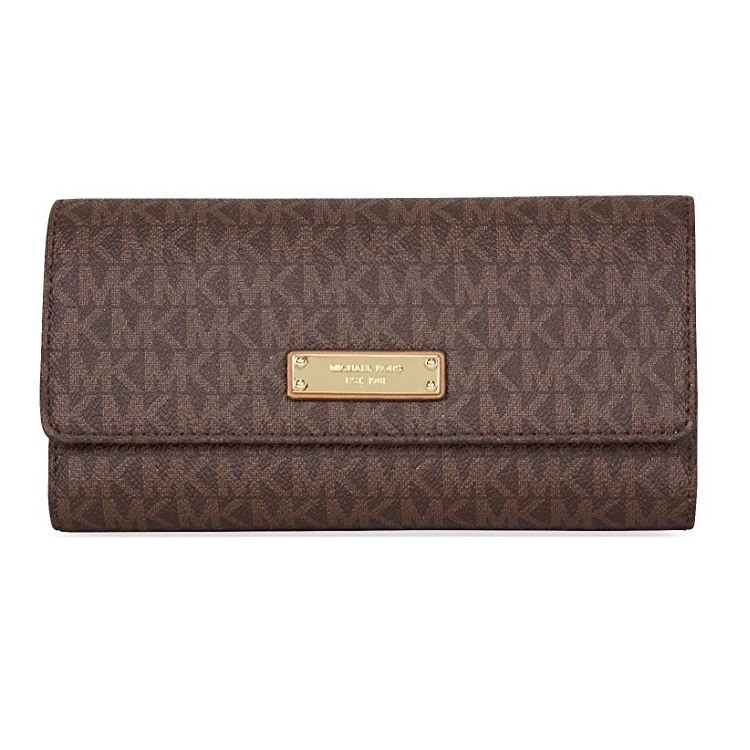 07b7f065d9f7 Shop Michael Kors Signature Jet Set Item Checkbook Wallet - Brown - Free  Shipping Today - Overstock - 14741356