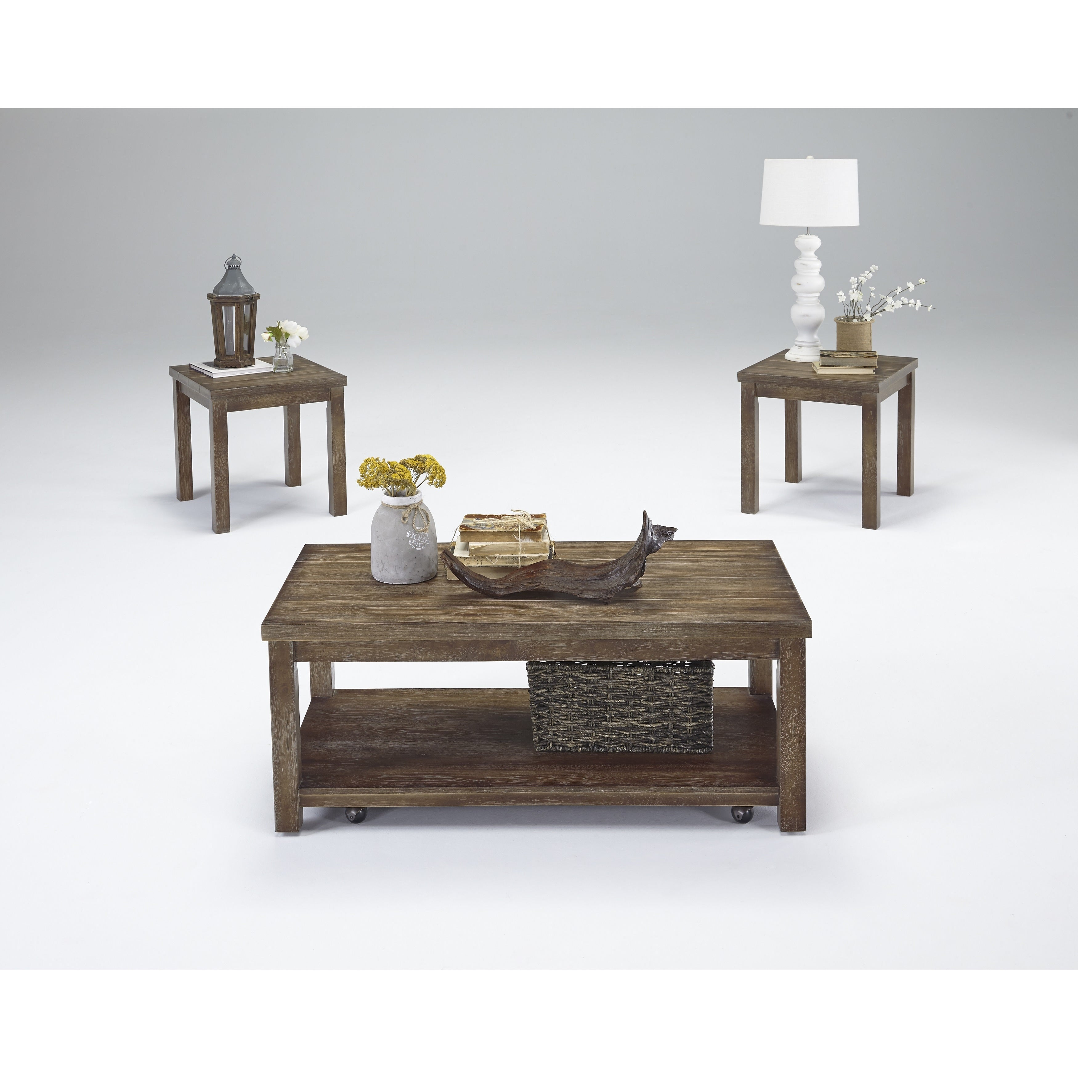 Shop Silverton Distressed Brown Cocktail And End Tables Set Of - Cocktail end table sets